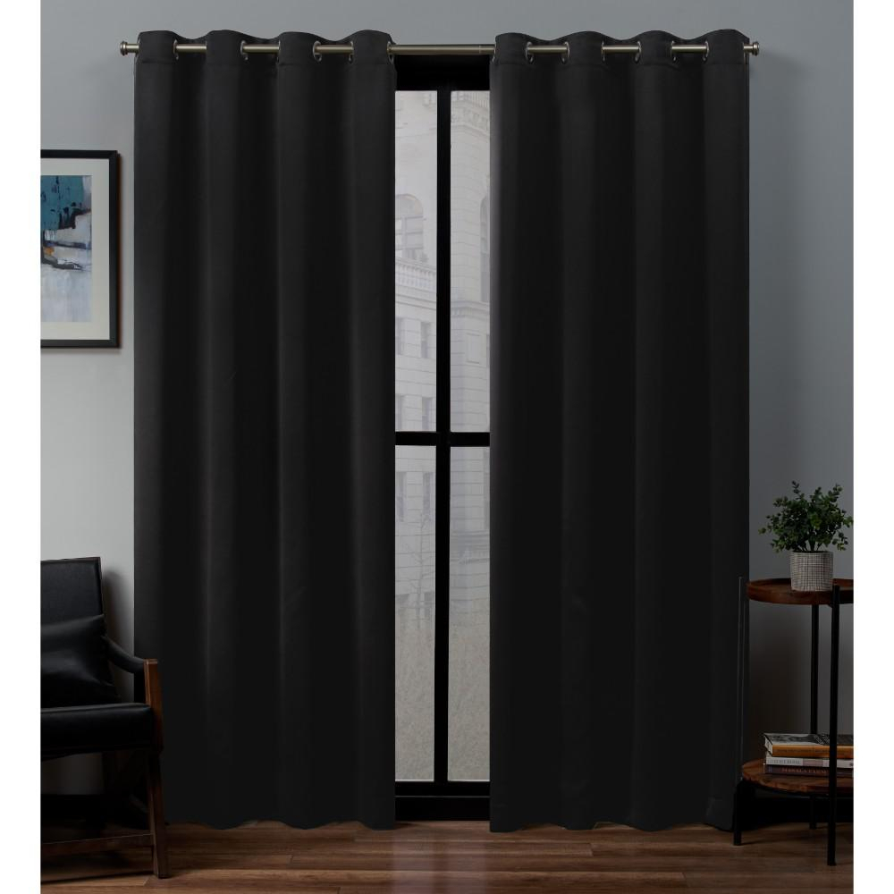 Exclusive Home Curtains Sateen Twill Weave Blackout Grommet Top Curtain Panel Pair In Black – 52 In. W X 96 In (View 7 of 20)
