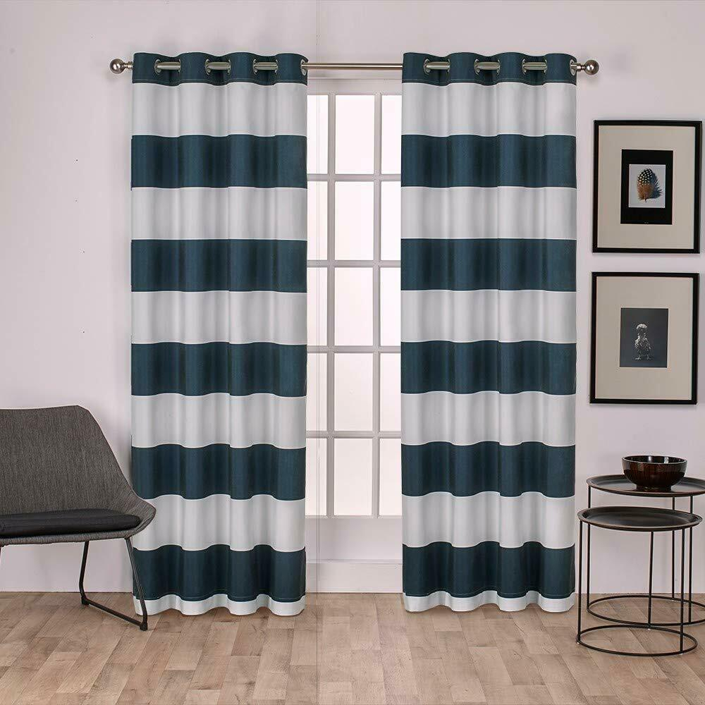 Exclusive Home Curtains Surfside Cabana Stripe Cotton Window Curtain Panel Pair For Tassels Applique Sheer Rod Pocket Top Curtain Panel Pairs (View 24 of 30)