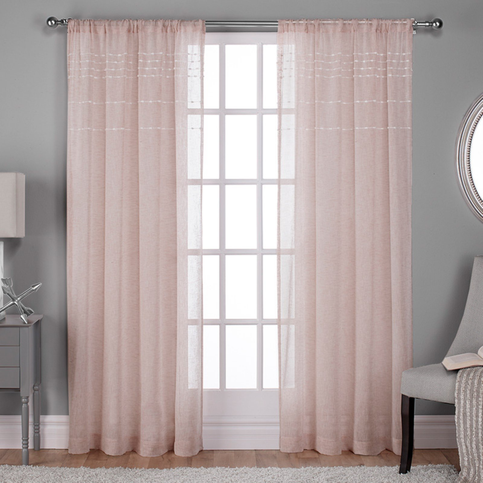 Exclusive Home Davos Puff Embellished Belgian Sheer Window Throughout Belgian Sheer Window Curtain Panel Pairs With Rod Pocket (View 14 of 20)