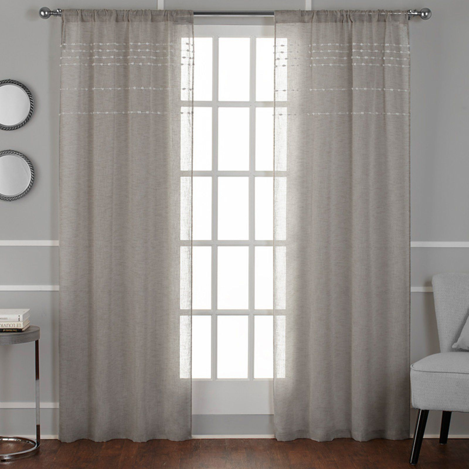 Exclusive Home Davos Puff Embellished Belgian Sheer Window With Regard To Belgian Sheer Window Curtain Panel Pairs With Rod Pocket (View 13 of 20)