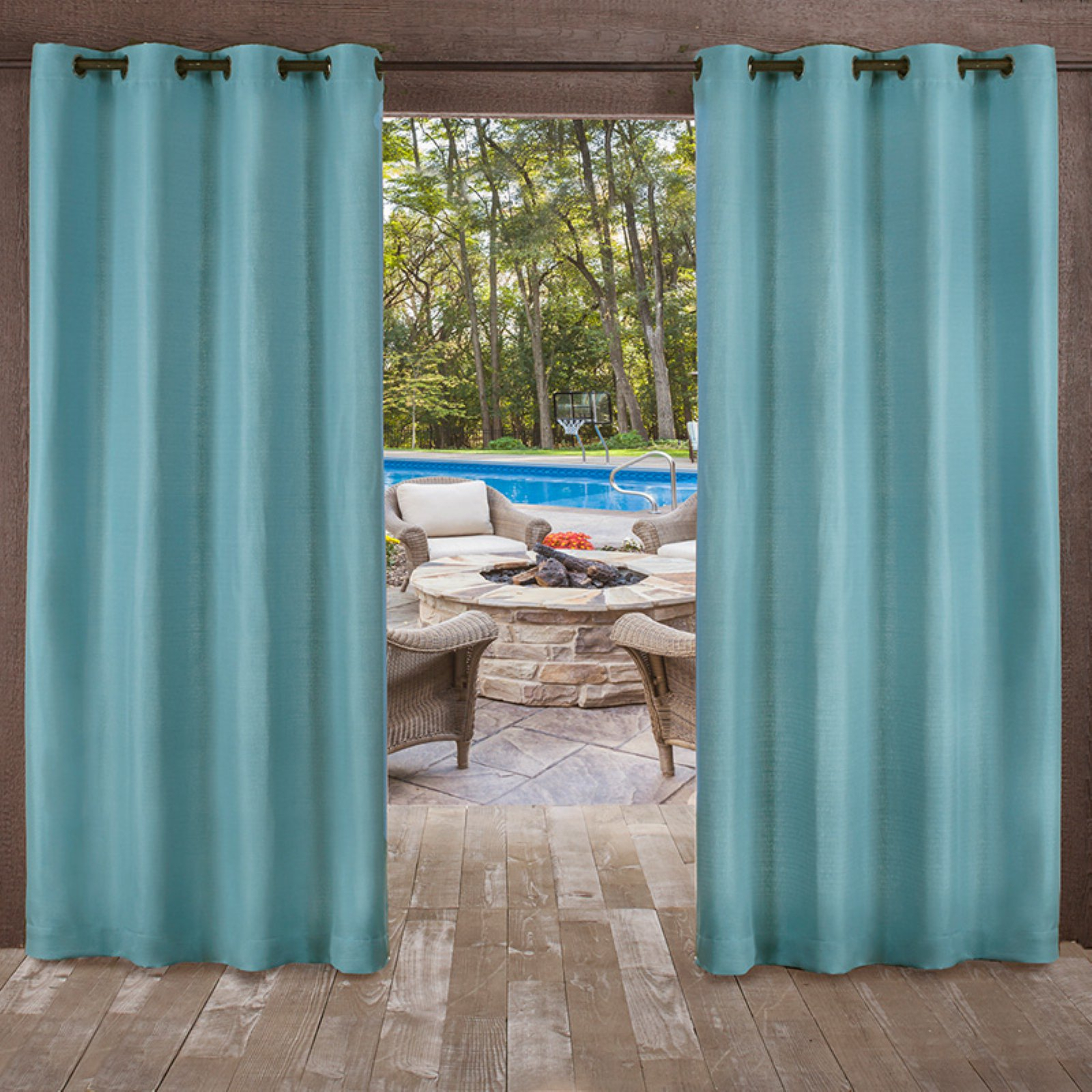Exclusive Home Delano Heavyweight Textured Indoor/outdoor With Regard To Delano Indoor/outdoor Grommet Top Curtain Panel Pairs (View 7 of 20)