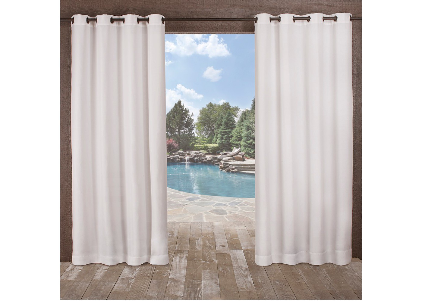 Exclusive Home Delano Indoor/outdoor Heavy Textured Grommet Top Window Curtain Panel Pair – White 54x96 Within Indoor/outdoor Solid Cabana Grommet Top Curtain Panel Pairs (View 12 of 20)