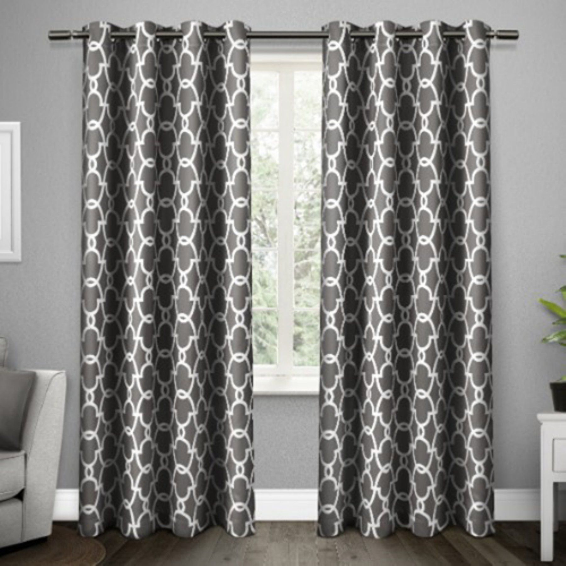 Exclusive Home Gates Window Curtain Panel Pair – Eh8135 01 2 Regarding The Curated Nomad Duane Jacquard Grommet Top Curtain Panel Pairs (View 8 of 30)