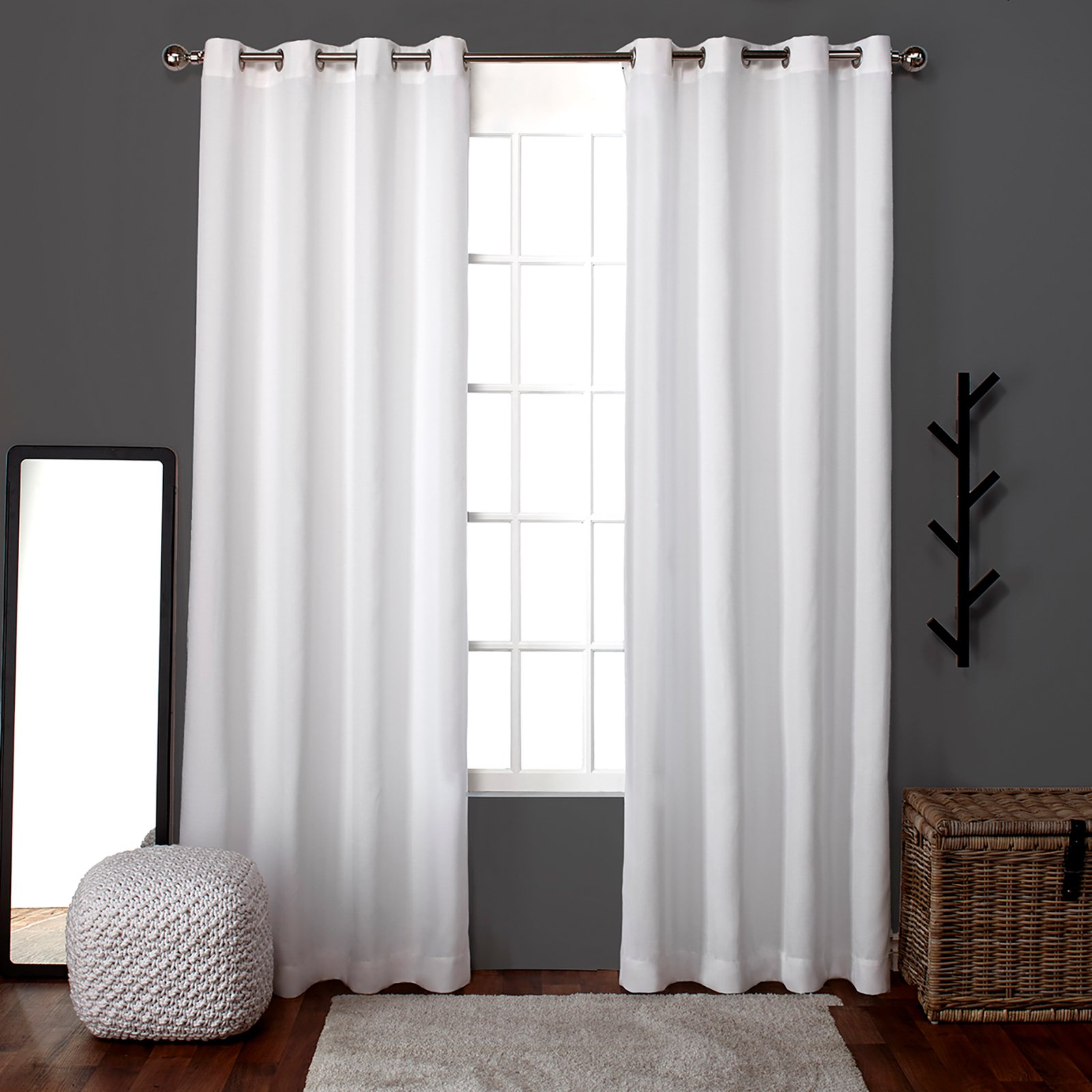 Exclusive Home Loha Grommet Curtain Panel Pair Winter White Pertaining To Sugar Creek Grommet Top Loha Linen Window Curtain Panel Pairs (View 4 of 30)