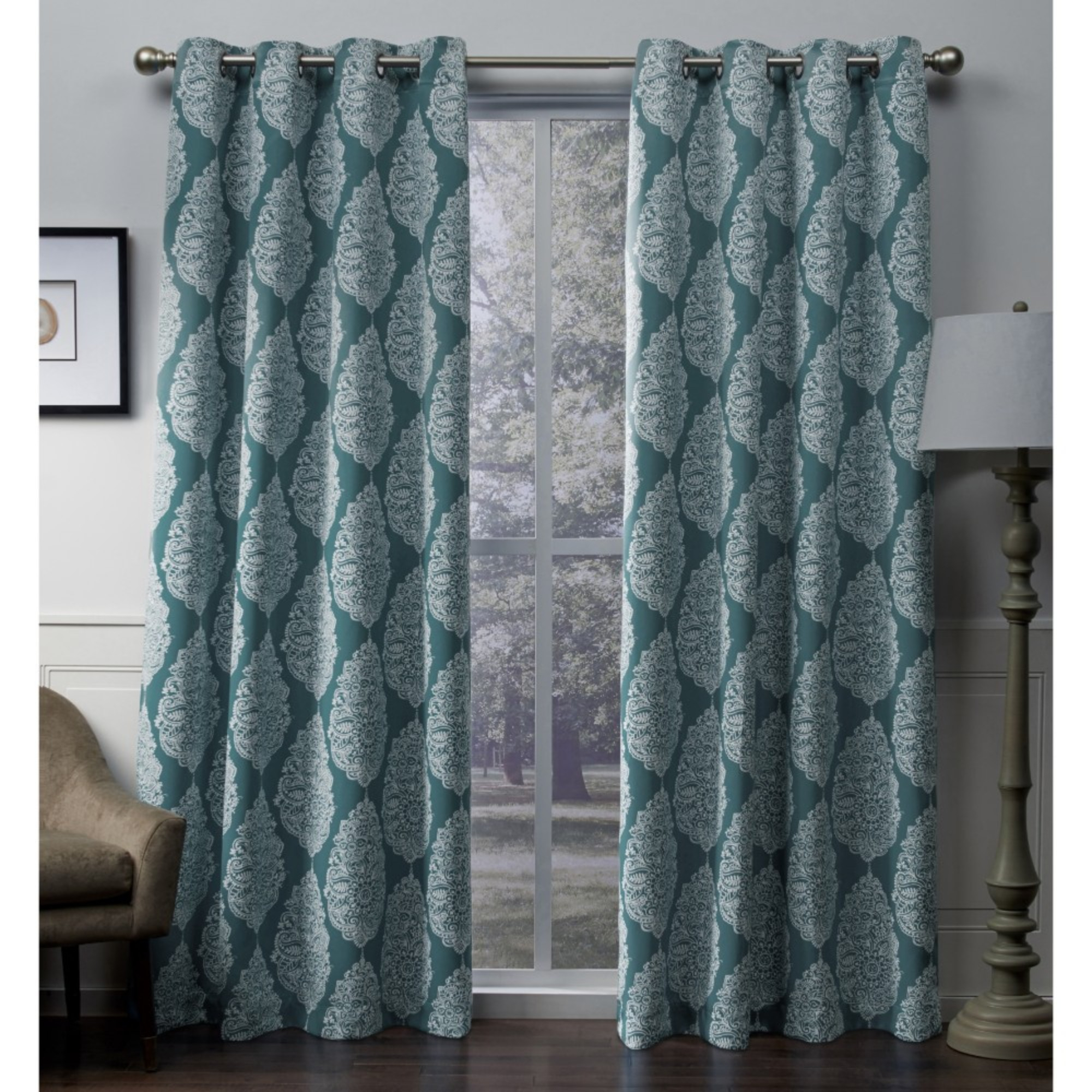 Exclusive Home Queensland Printed Medallion Woven Sateen Woven Window Curtain Panel Pair With Grommet Top With Regard To Sateen Twill Weave Insulated Blackout Window Curtain Panel Pairs (View 9 of 20)