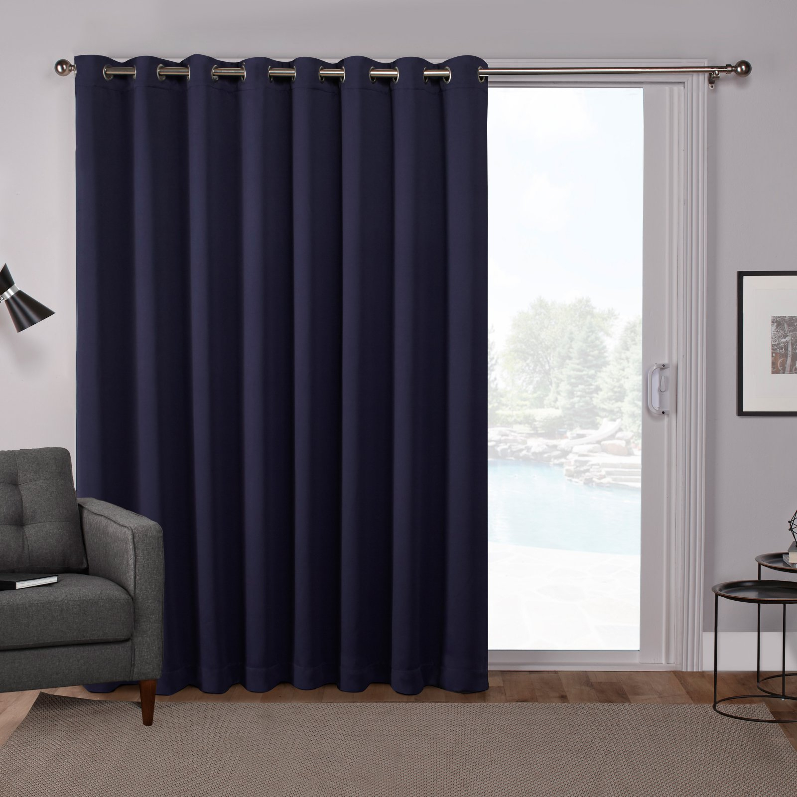 Exclusive Home Sateen Blackout Grommet Top Curtain Panel With Inez Patio Door Window Curtain Panels (View 11 of 20)