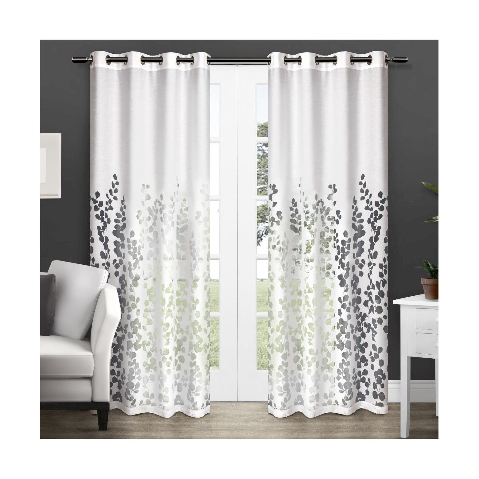 Exclusive Home Wilshire Sheer Window Curtain Panel Pair In Wilshire Burnout Grommet Top Curtain Panel Pairs (View 8 of 30)