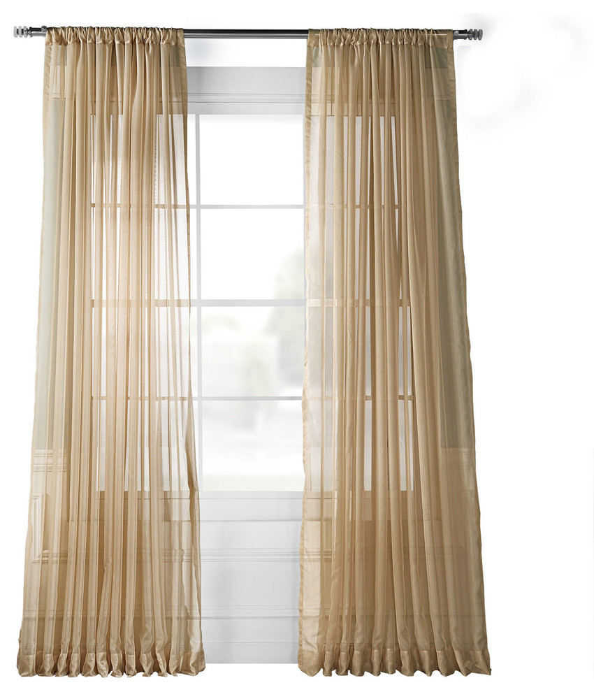 Extra Wide Solid Soft Tan Voile Poly Sheer Curtain Single Panel, 100w X 120l Inside Faux Silk Extra Wide Blackout Single Curtain Panels (View 11 of 20)