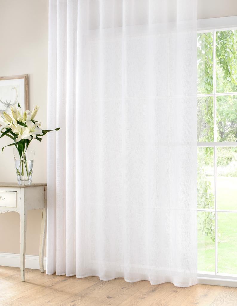 Extra Wide White Linen Rich Semi Sheer Voile Curtain Panel Ready Made & Custom Sizes Available Regarding Extra Wide White Voile Sheer Curtain Panels (View 17 of 20)