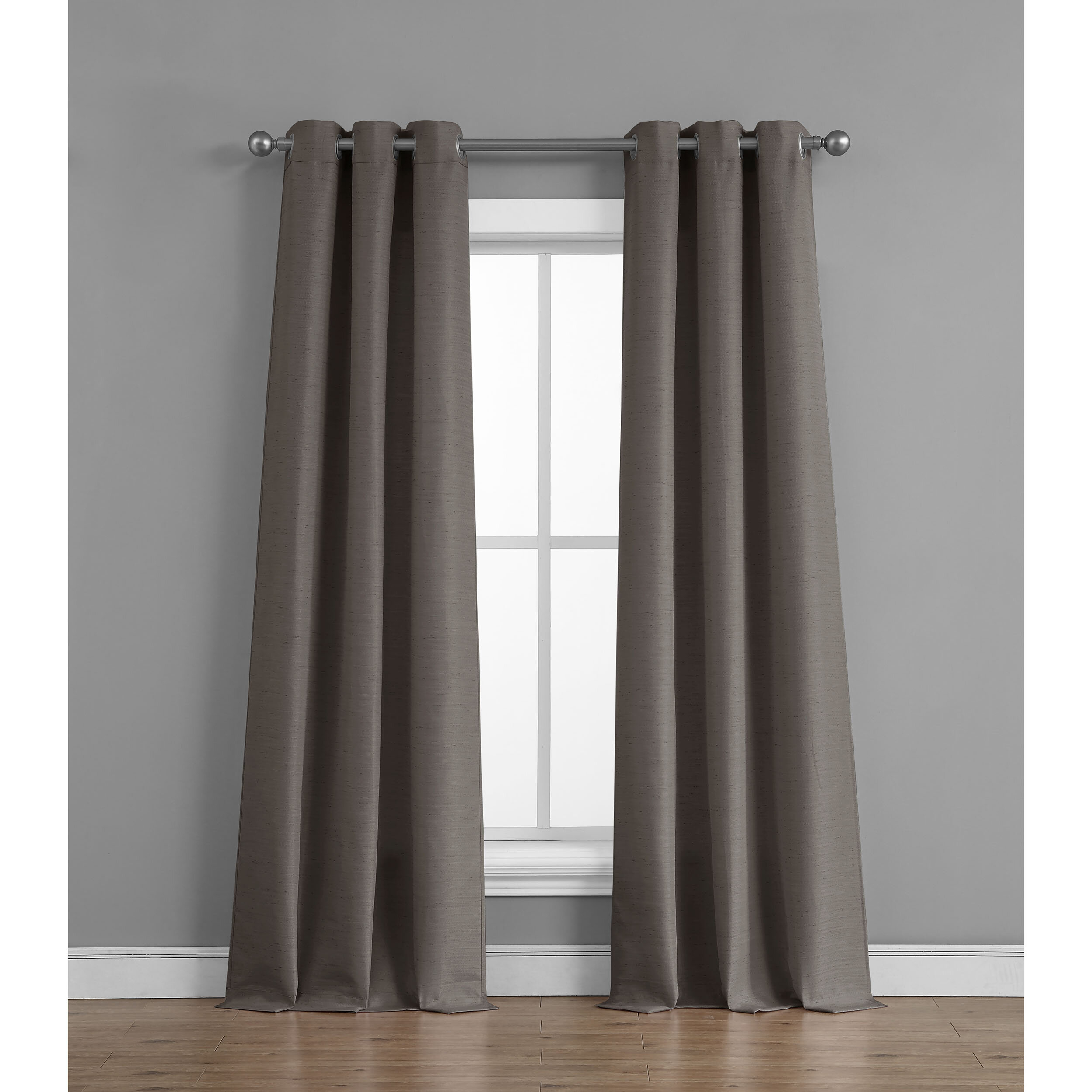 Fareham Raw Faux Silk Semi Sheer Grommet Curtain Panels Regarding Raw Silk Thermal Insulated Grommet Top Curtain Panel Pairs (View 12 of 20)