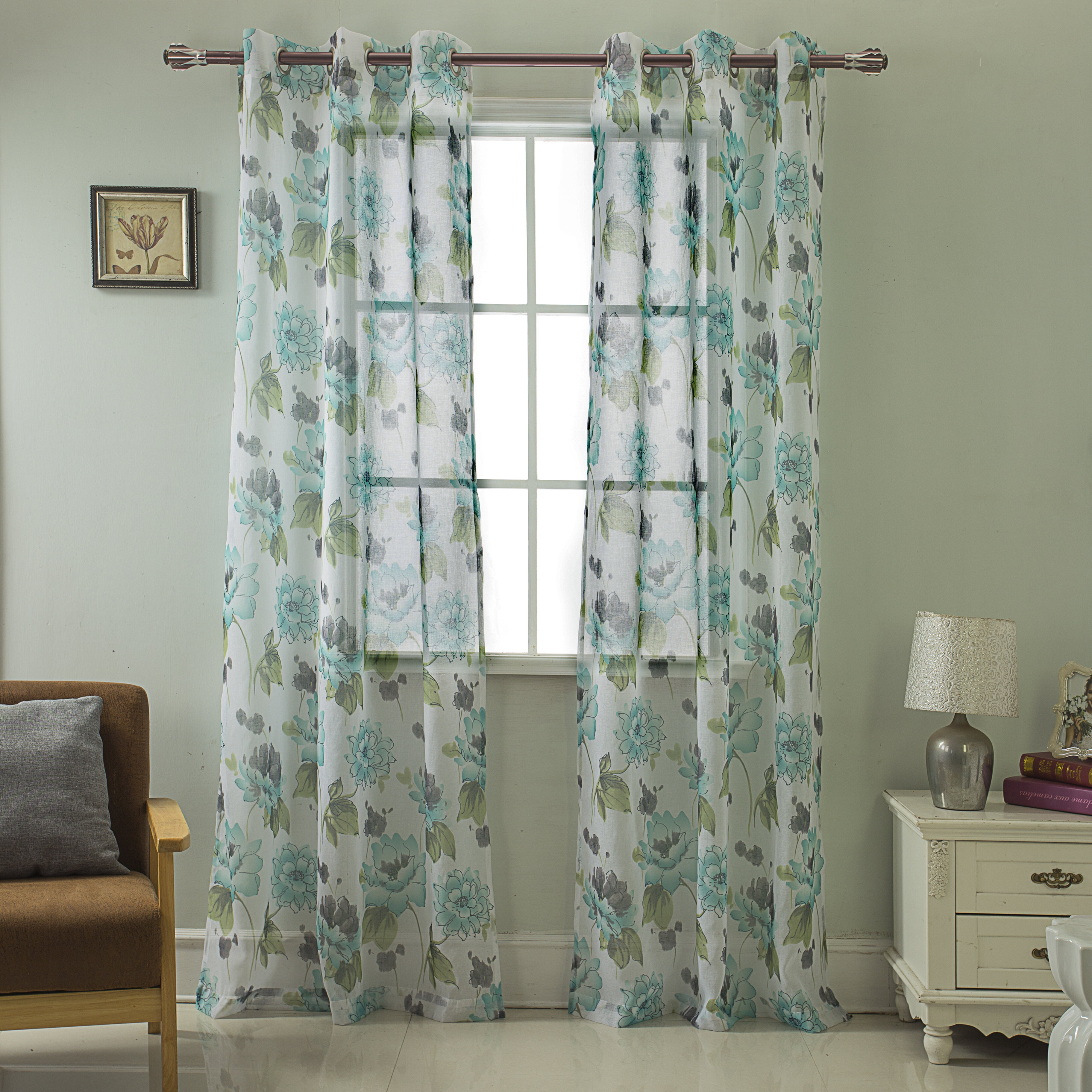 Farr Printed Floral Semi Sheer Grommet Curtain Panels With Intersect Grommet Woven Print Window Curtain Panels (View 3 of 20)
