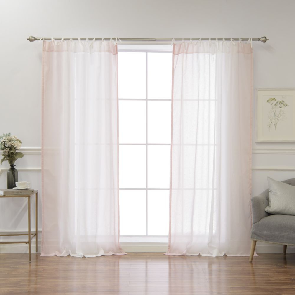 Faux Linen Ombre Border Tie Top Curtains – Pink Throughout Ombre Faux Linen Semi Sheer Curtains (View 16 of 20)