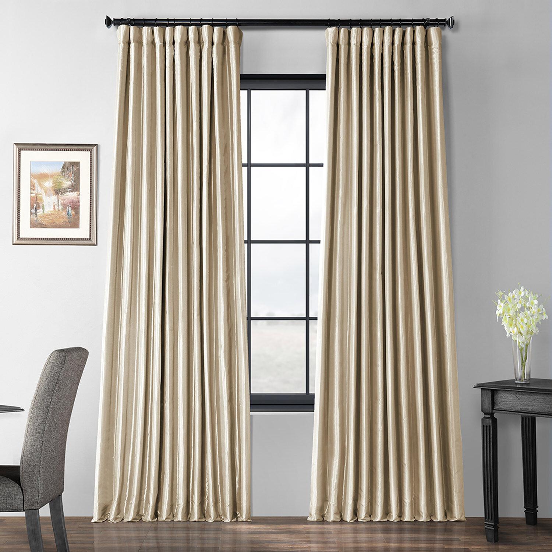 Faux Silk Extra Wide Taffeta Blackout Single Curtain Panel Throughout Faux Silk Taffeta Solid Blackout Single Curtain Panels (View 7 of 20)