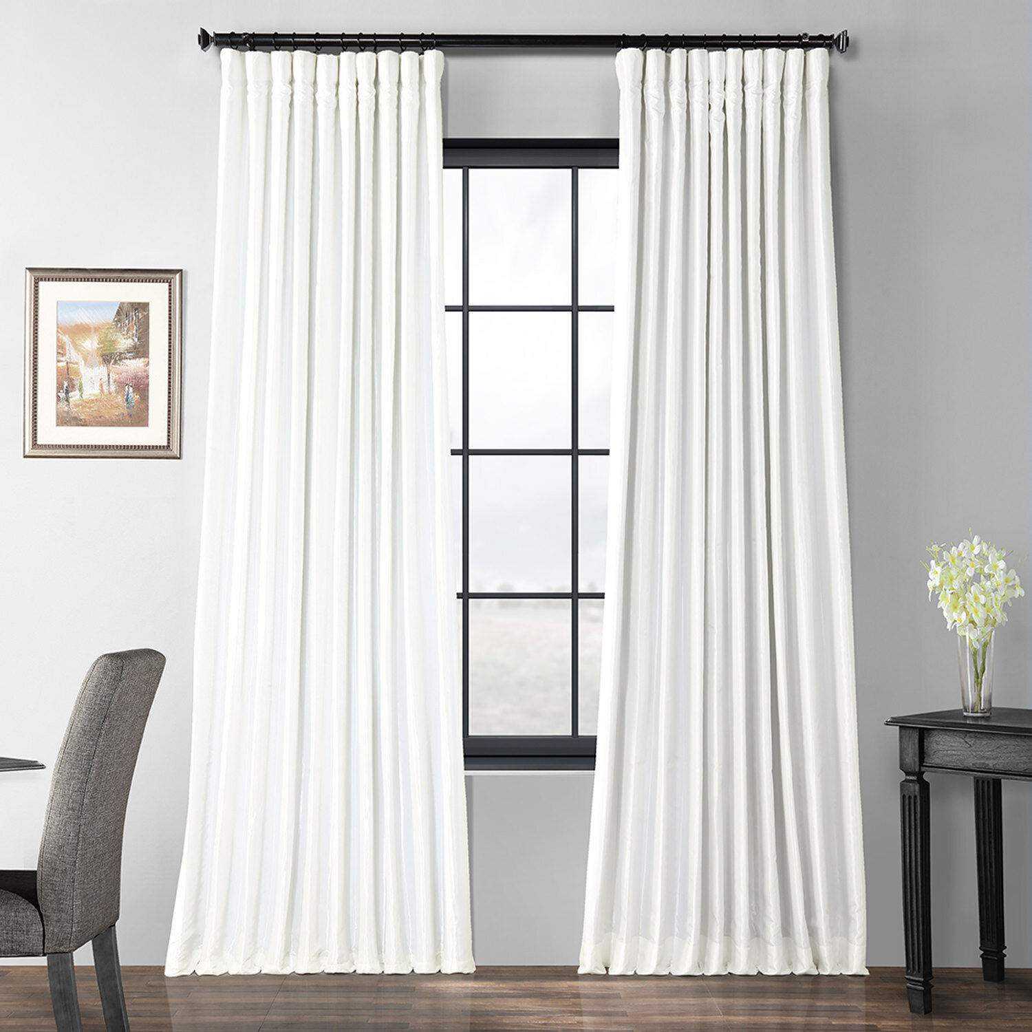 Faux Silk Extra Wide Taffeta Blackout Single Curtain Panel With Regard To Faux Silk Extra Wide Blackout Single Curtain Panels (View 5 of 20)