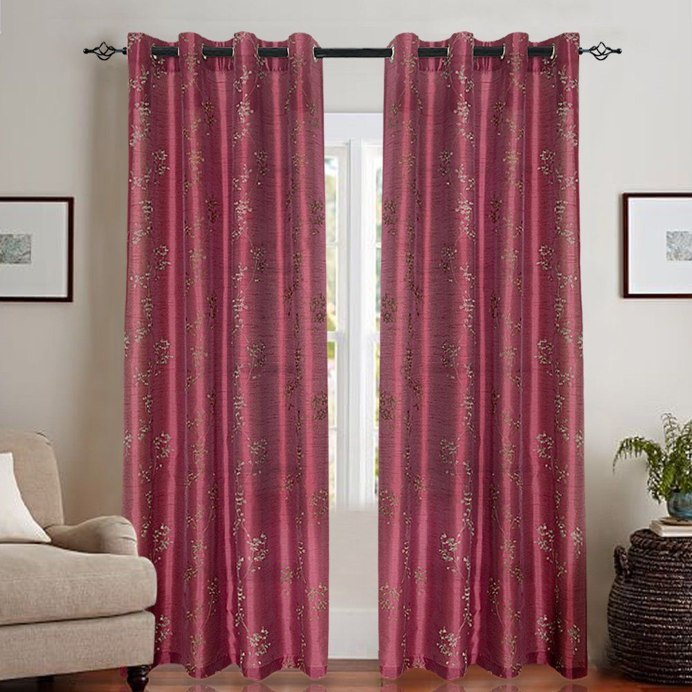 Faux Silk Floral Embroidered Grommet Top Curtains For With Regard To Ofloral Embroidered Faux Silk Window Curtain Panels (View 17 of 20)