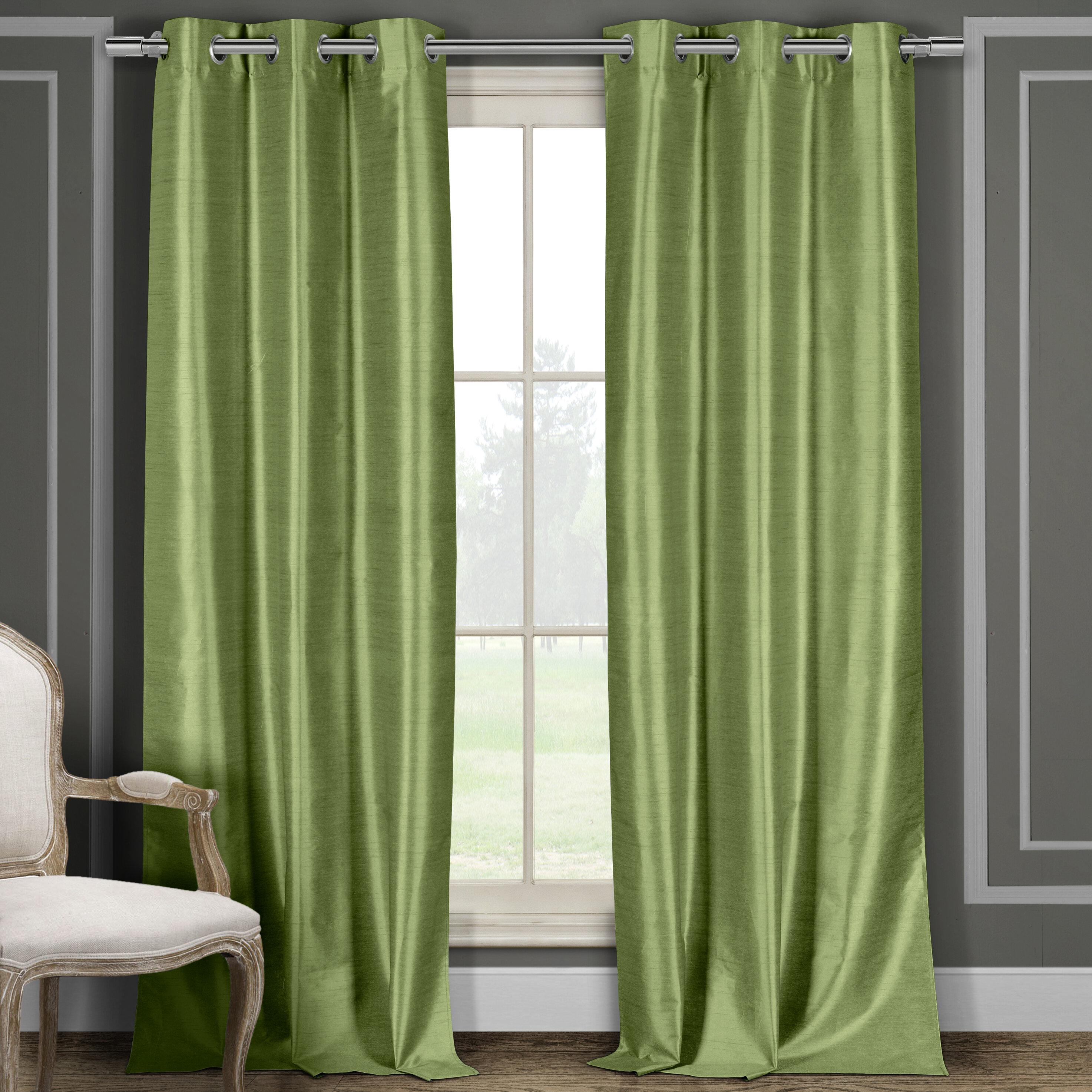 Faux Silk Solid Blackout Grommet Curtain Panels Intended For Overseas Faux Silk Blackout Curtain Panel Pairs (View 9 of 20)