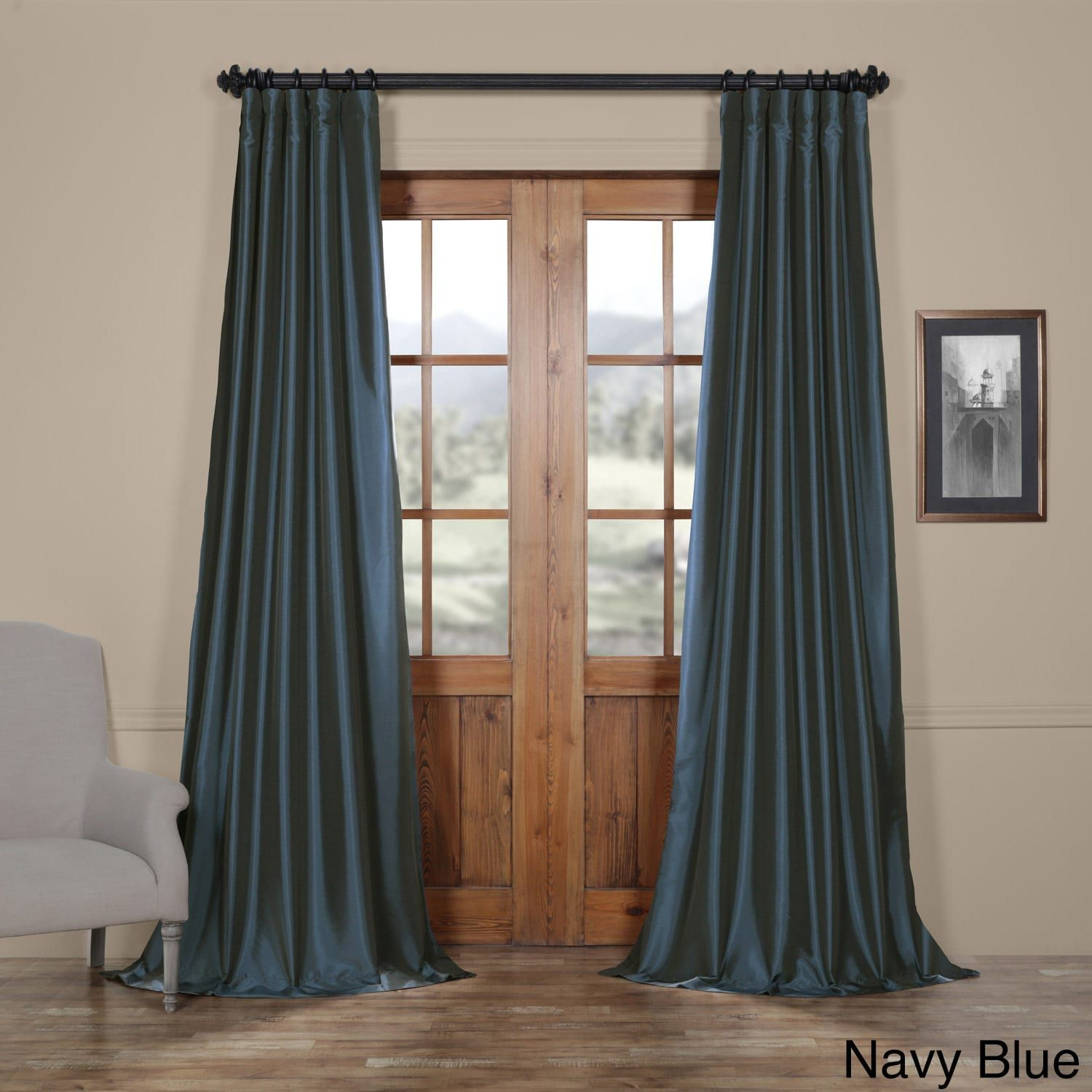 Popular Photo of Solid Faux Silk Taffeta Graphite Single Curtain Panels