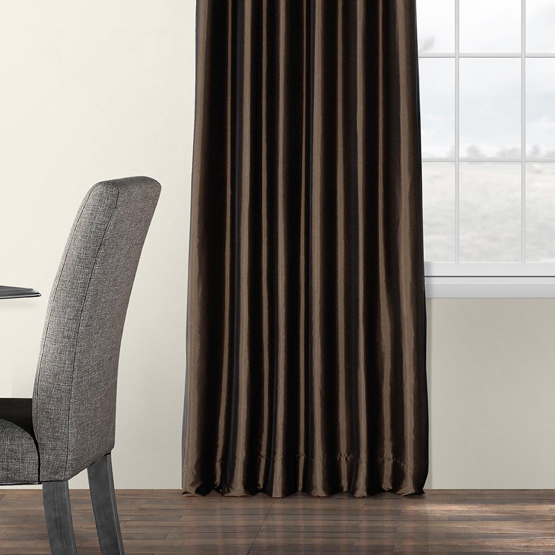 Faux Silk Taffeta Solid Blackout Single Curtain Panel Regarding Faux Silk Taffeta Solid Blackout Single Curtain Panels (View 4 of 20)