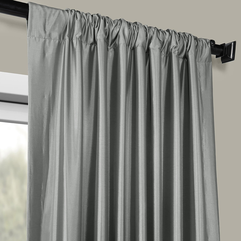Featured Photo of Faux Silk Taffeta Solid Blackout Single Curtain Panels