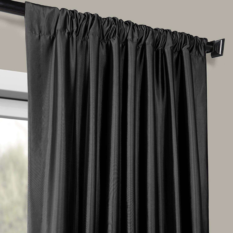 Faux Silk Taffeta Solid Blackout Single Curtain Panel With Faux Silk Taffeta Solid Blackout Single Curtain Panels (View 5 of 20)