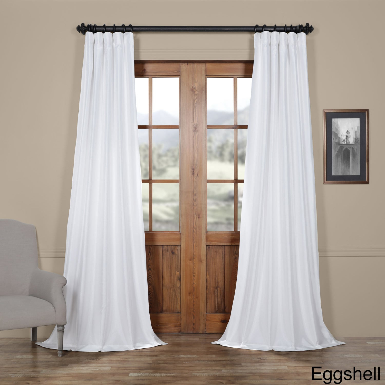 Faux Silk Taffeta Solid Blackout Single Curtain Panel With Solid Faux Silk Taffeta Graphite Single Curtain Panels (View 15 of 30)