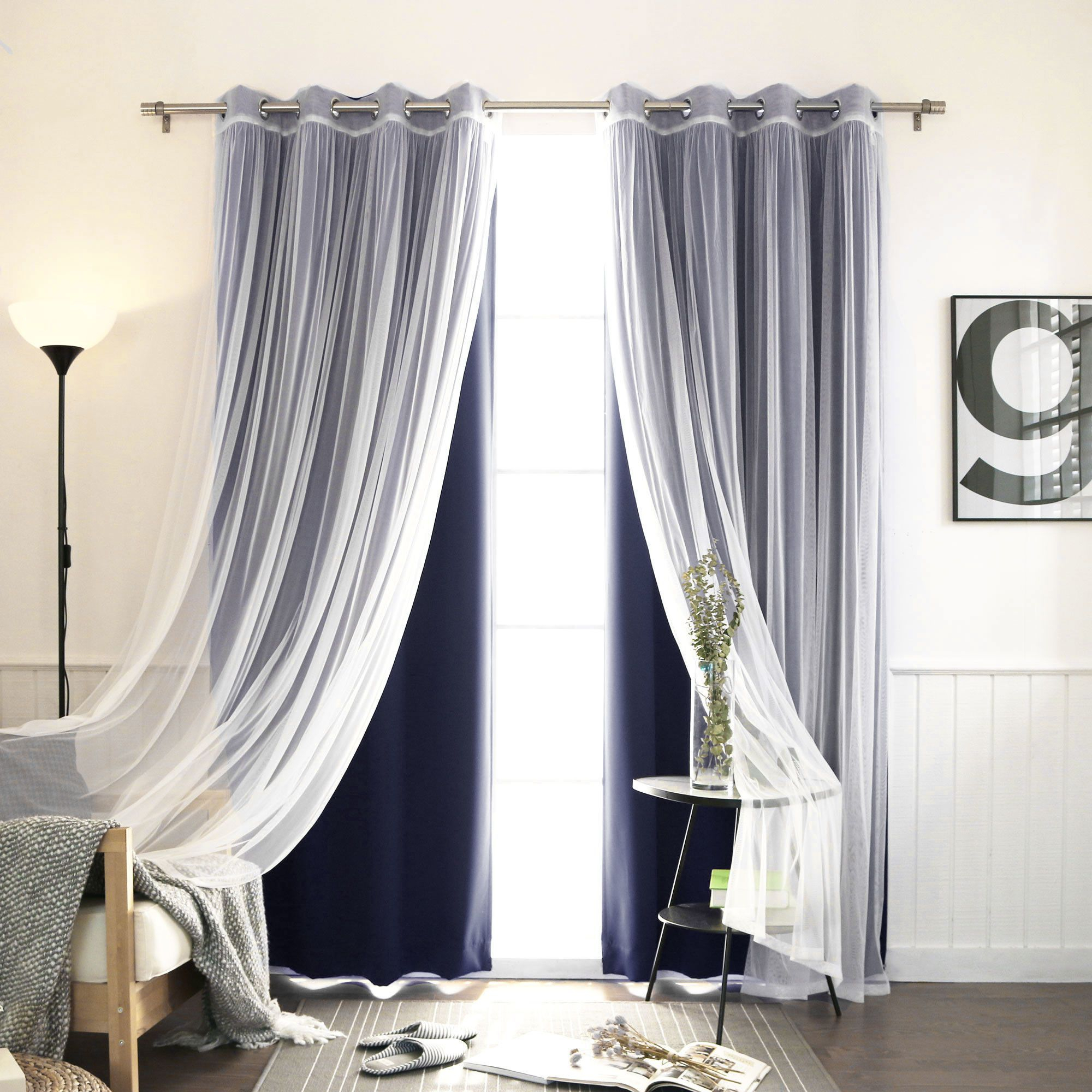 Features: Set Includes 2 Blackout Curtain Panels And 2 In Double Layer Sheer White Single Curtain Panels (View 17 of 20)