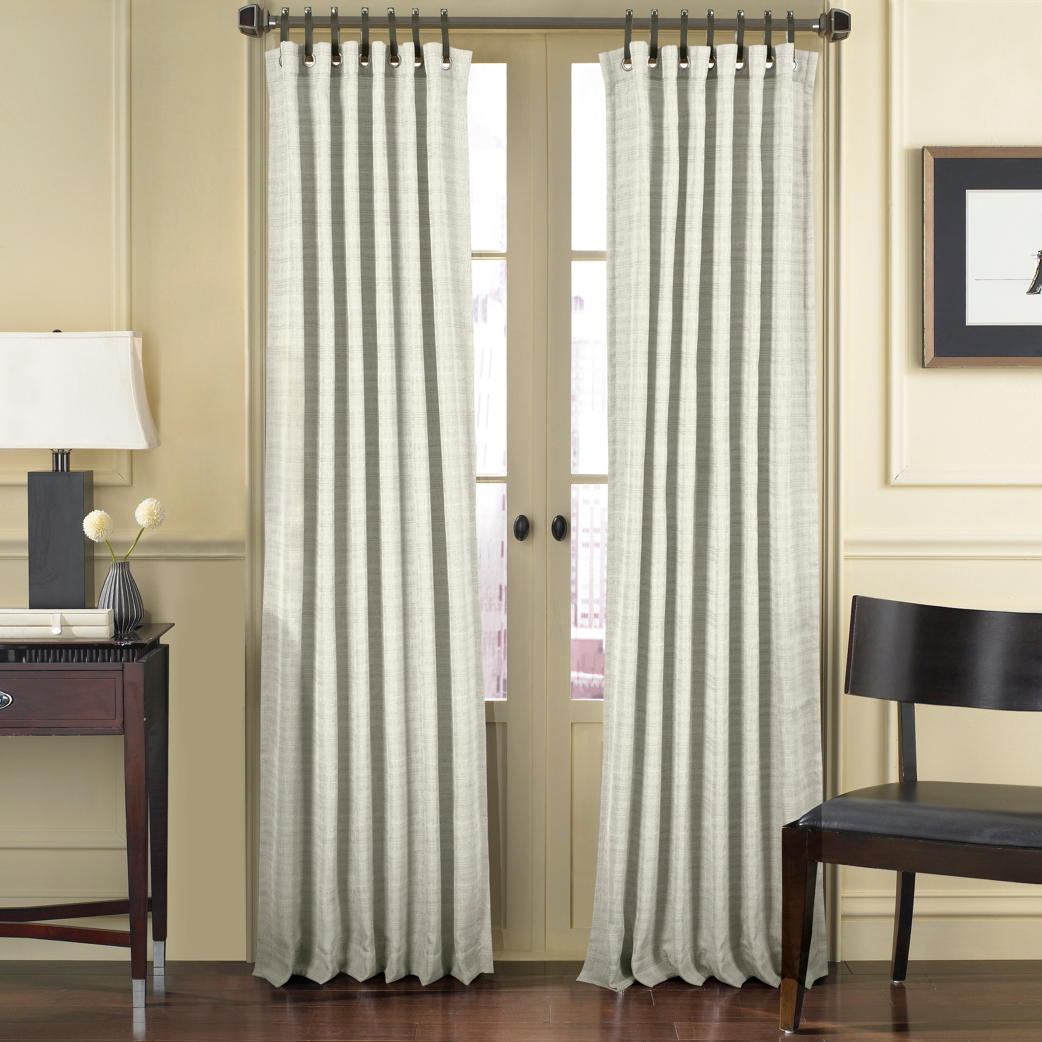 Five Queens Court Charlie Window Panel With Leather Tab Top Pertaining To Luxury Collection Faux Leather Blackout Single Curtain Panels (View 2 of 20)