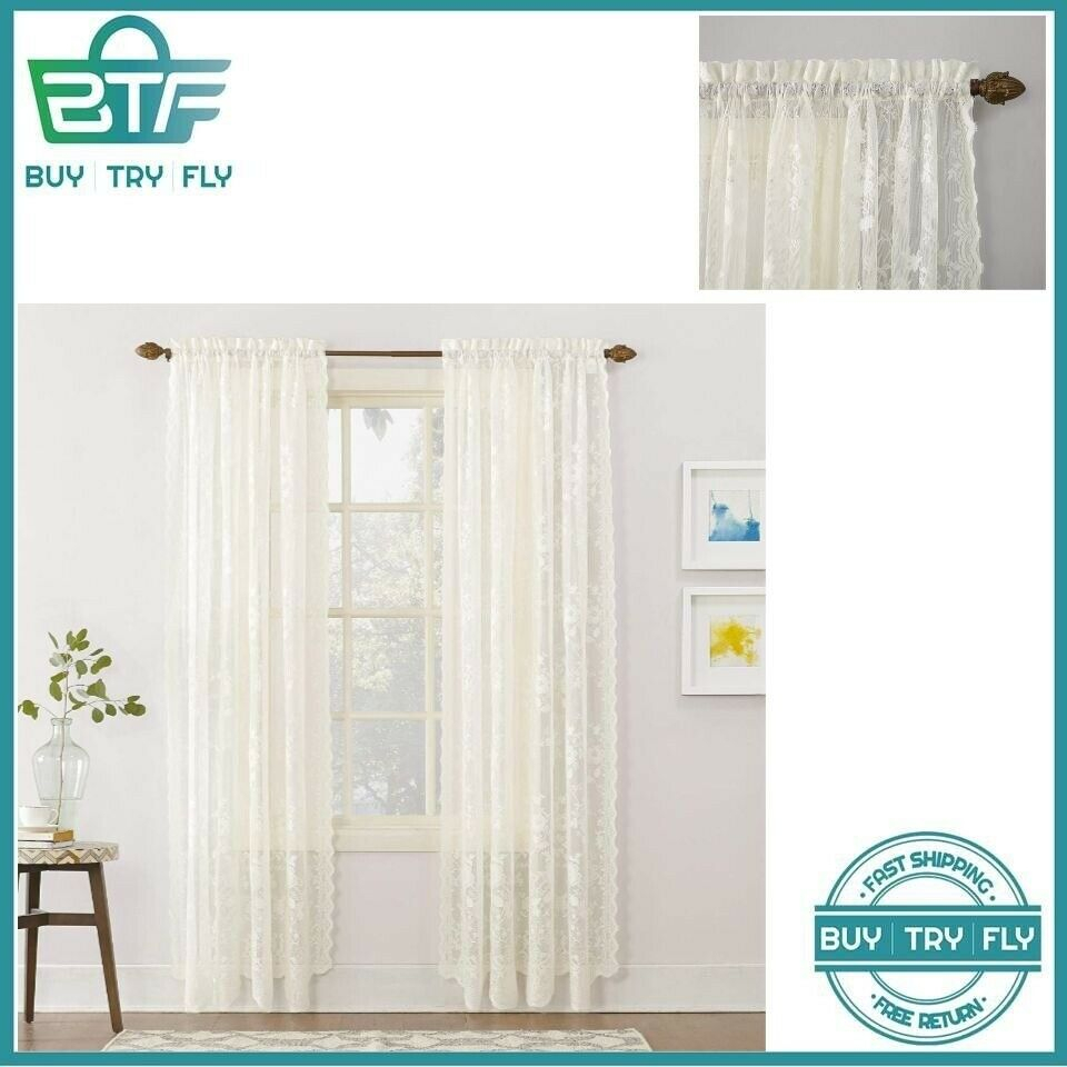 Floral Lace Curtains Alison Sheer Rod Pocket Curtain Panel 58 X 84 Inches  Ivory 726084564084 | Ebay Pertaining To Alison Rod Pocket Lace Window Curtain Panels (Image 7 of 20)