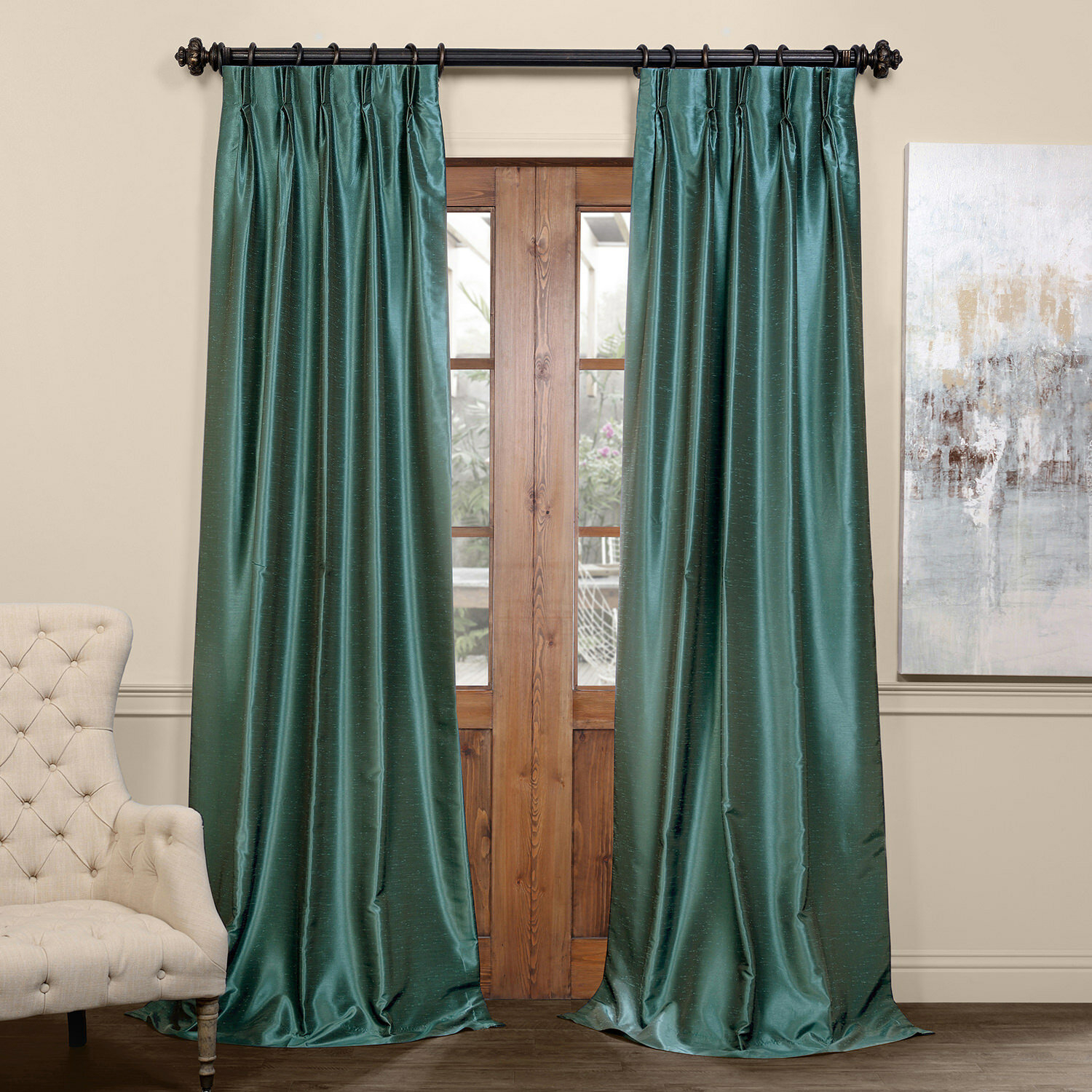 Forbell Solid Blackout Vintage Textured Faux Dupioni Thermal Pinch Pleat Single Curtain Panel In True Blackout Vintage Textured Faux Silk Curtain Panels (View 20 of 30)