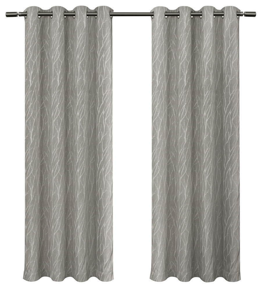 "Forest Hill Woven Room Darkening Grommet Curtain Panels, Ash Grey, 54""x84"" For Twig Insulated Blackout Curtain Panel Pairs With Grommet Top (View 19 of 30)"