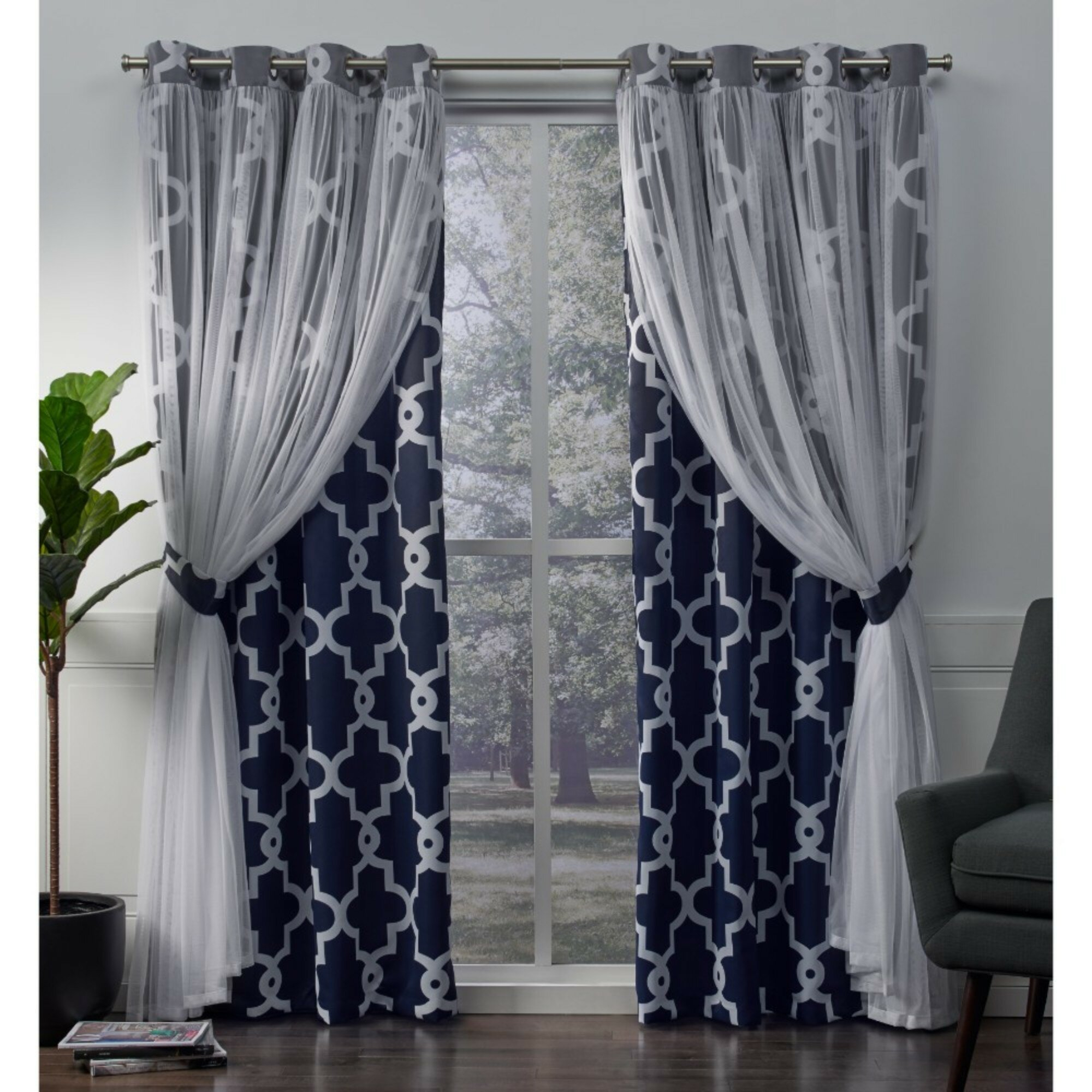 Fortunata Layered Geometric Blackout Thermal Grommet Curtain Panels Throughout Catarina Layered Curtain Panel Pairs With Grommet Top (View 15 of 20)