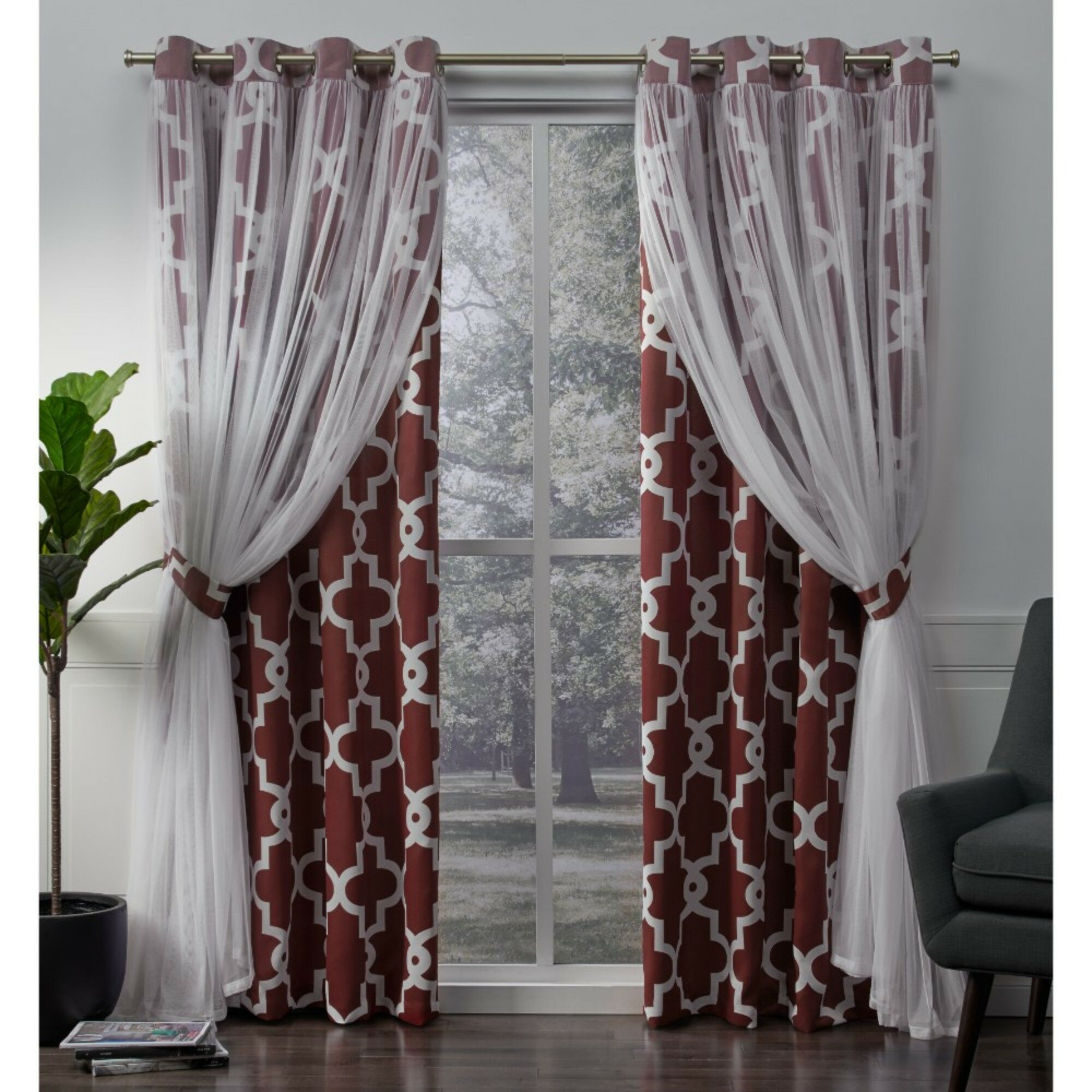 Fortunata Layered Geometric Blackout Thermal Grommet Panel Pair Throughout Thermal Textured Linen Grommet Top Curtain Panel Pairs (View 23 of 30)