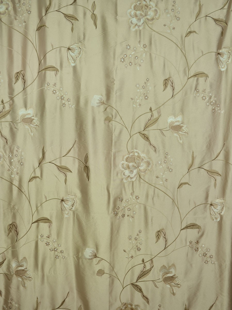 Franklin Deep Champagne Embroidered Floral Faux Silk Custom Regarding Ofloral Embroidered Faux Silk Window Curtain Panels (View 15 of 20)