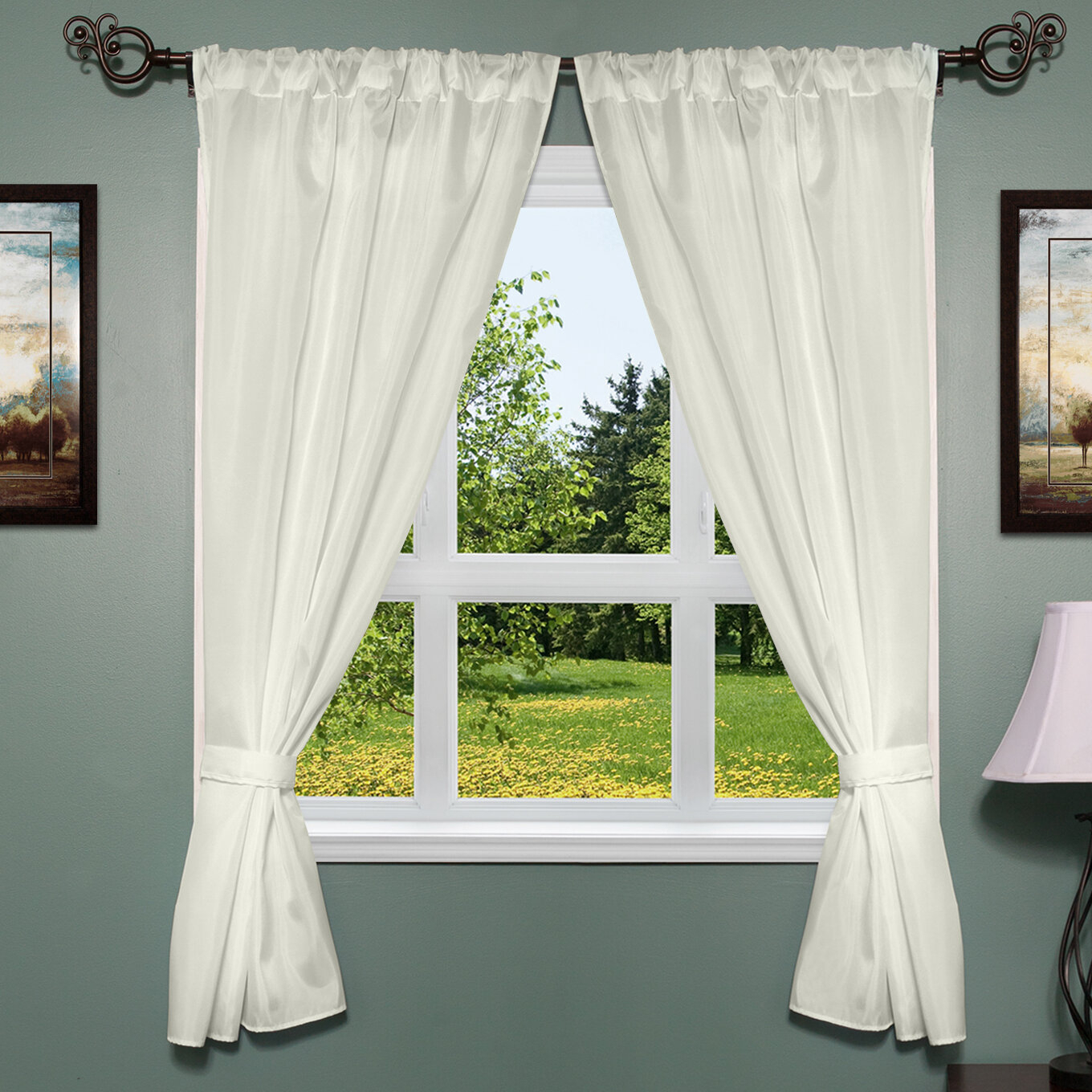 Freemanstown Classic Window Treatment Set In Classic Hotel Quality Water Resistant Fabric Curtains Set With Tiebacks (View 12 of 20)
