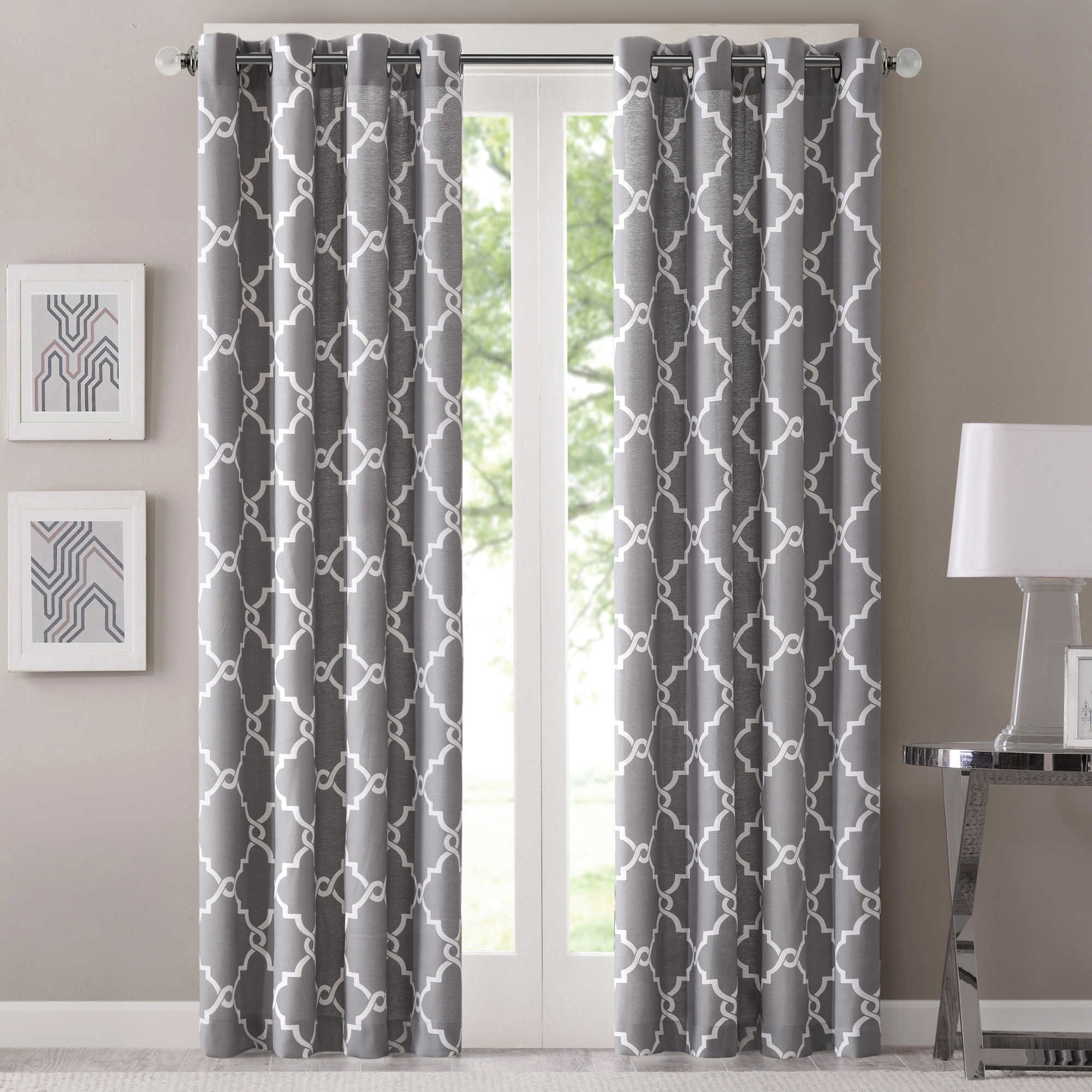 Fretwork 95 Inch Window Curtain Panel In Grey | Curtains Pertaining To Pastel Damask Printed Room Darkening Grommet Window Curtain Panel Pairs (View 13 of 20)