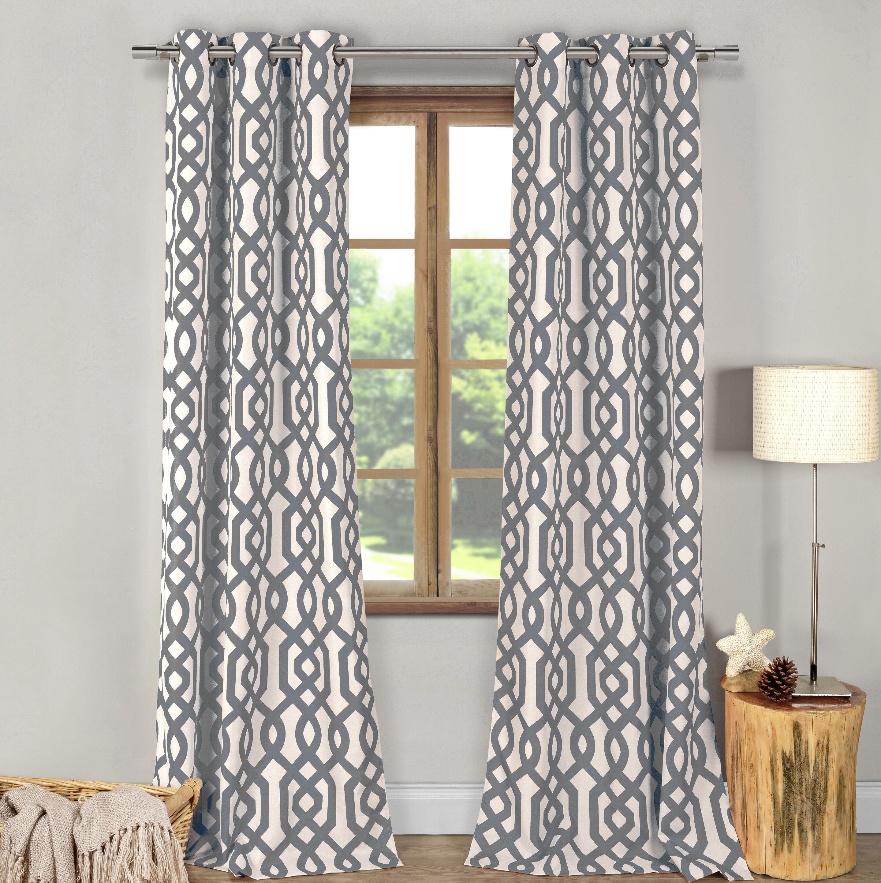 Fretwork Geometric Blackout Grommet Curtain Panels In Fretwork Print Pattern Single Curtain Panels (View 9 of 20)