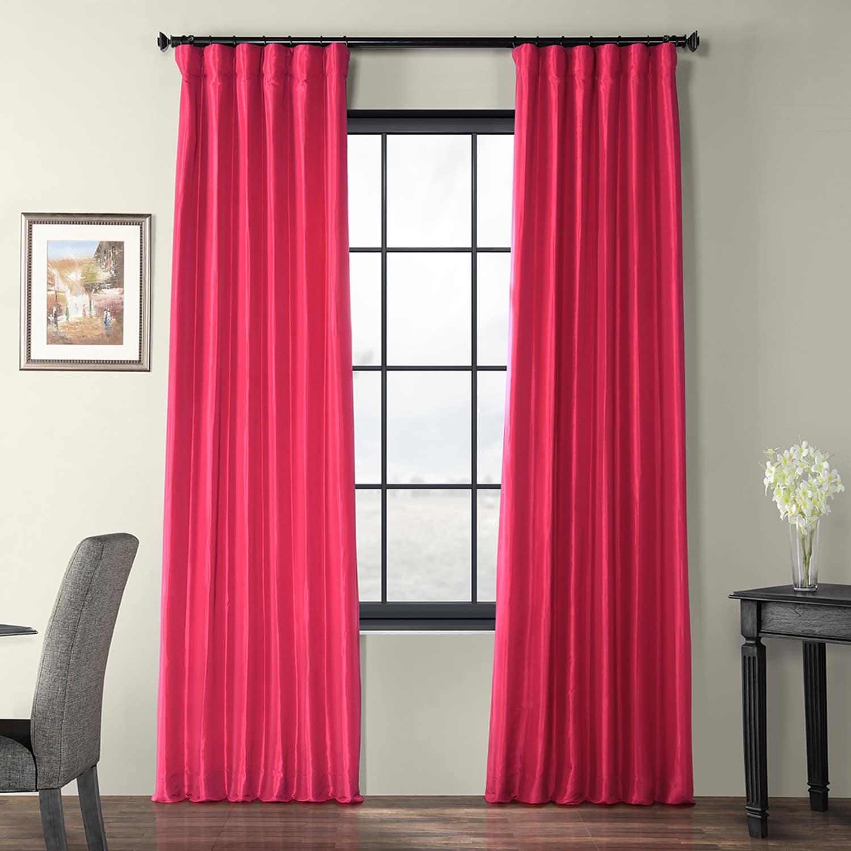 Fuchsia Rose Faux Silk Taffeta Curtain Regarding True Blackout Vintage Textured Faux Silk Curtain Panels (View 16 of 30)