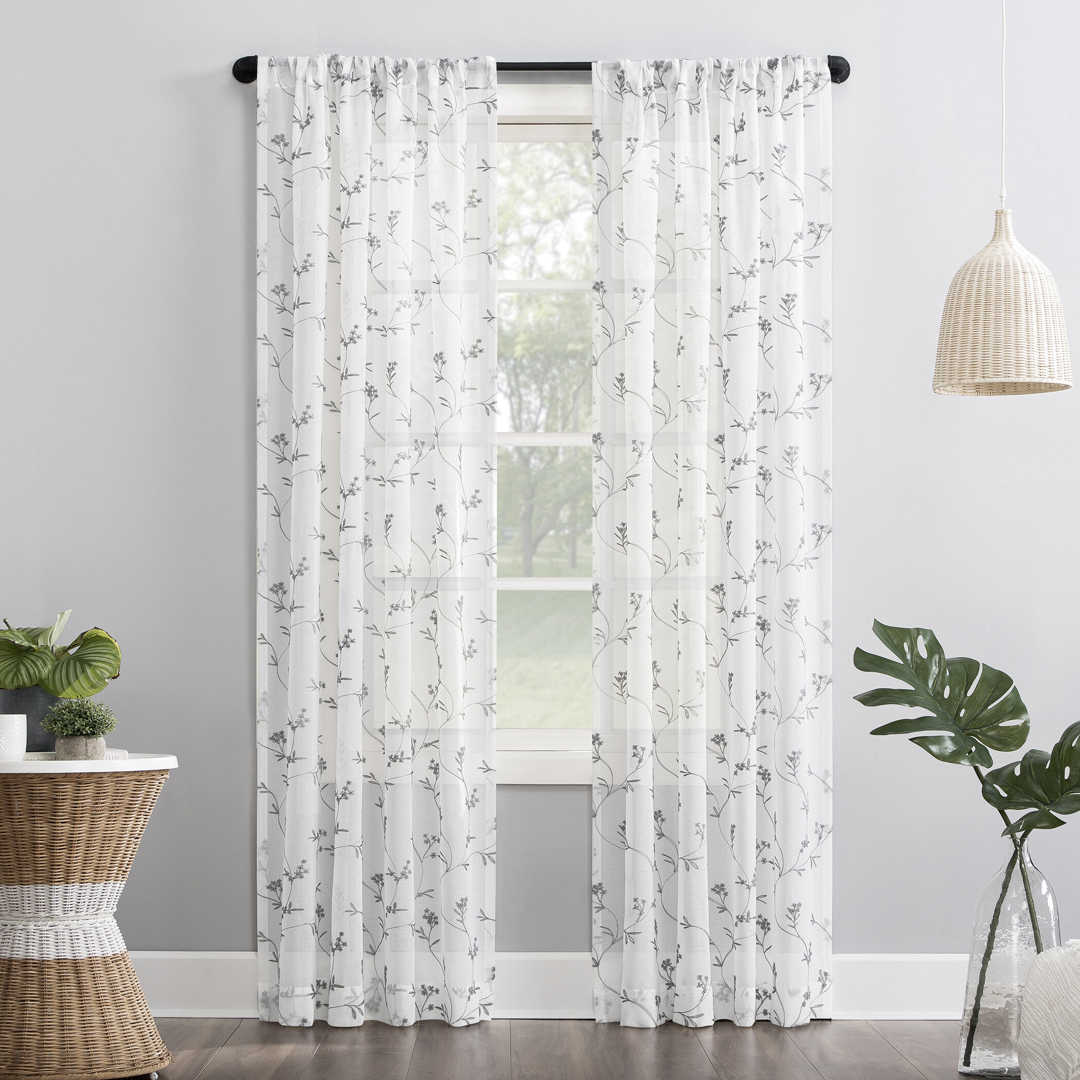Gabriella Floral Sheer Rod Pocket Single Curtain Panel Inside Evelina Faux Dupioni Silk Extreme Blackout Back Tab Curtain Panels (View 16 of 20)