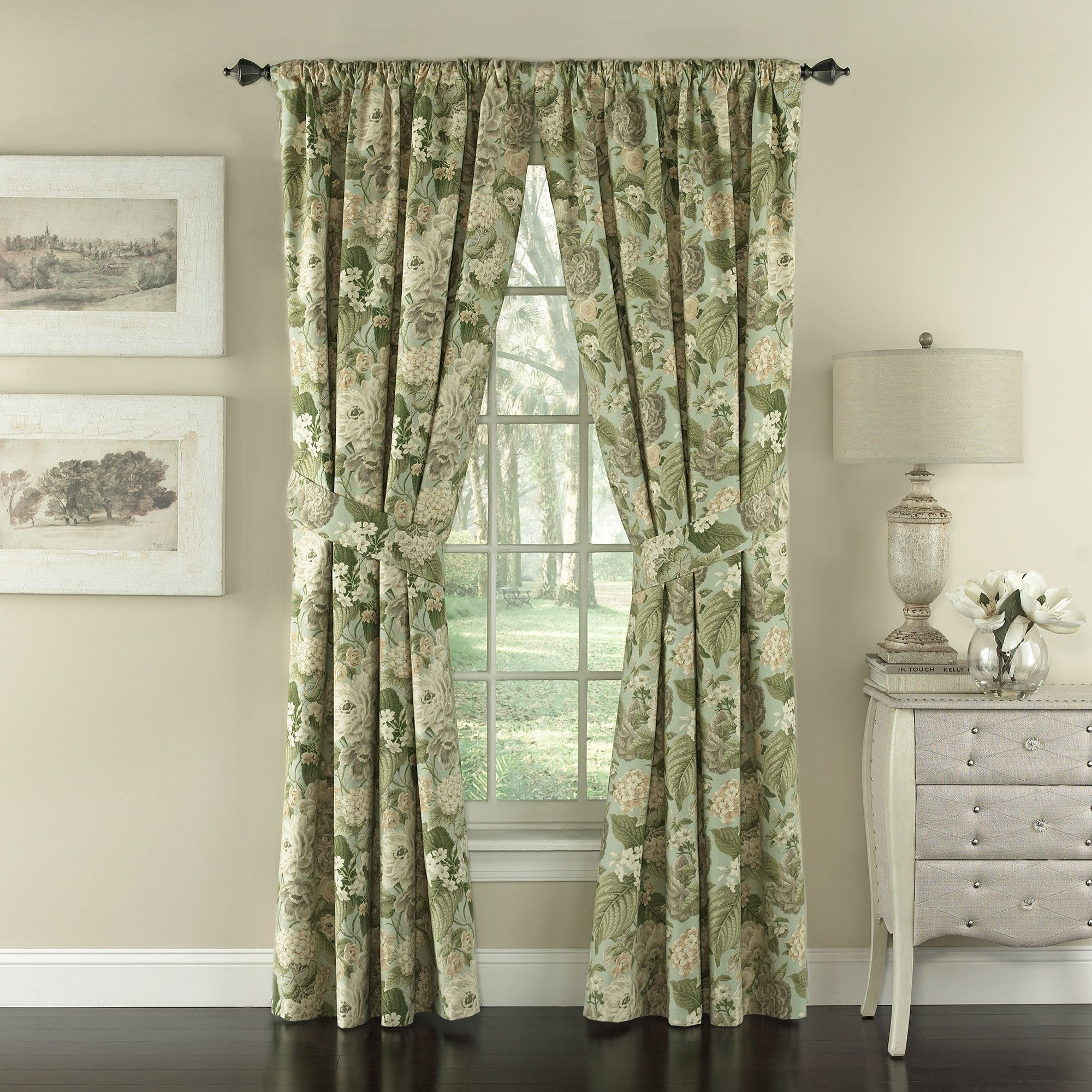 Garden Glory Nature/floral Semi Sheer Rod Pocket Curtain Regarding Andorra Watercolor Floral Textured Sheer Single Curtain Panels (Image 5 of 20)