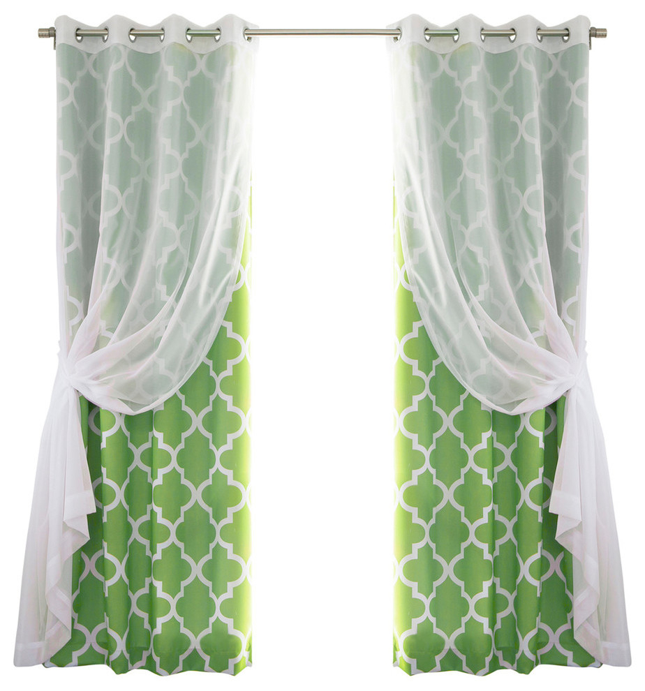 Gathered Sheer Voile And Moroccan Tile 4 Piece Curtain Set, Green For Edward Moroccan Pattern Room Darkening Curtain Panel Pairs (View 20 of 20)
