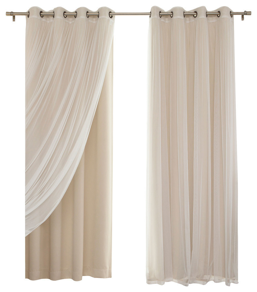"Gathered Tulle Sheer And Blackout 4 Piece Curtain Set, Beige, 84"" With Velvet Dream Silver Curtain Panel Pairs (View 10 of 31)"