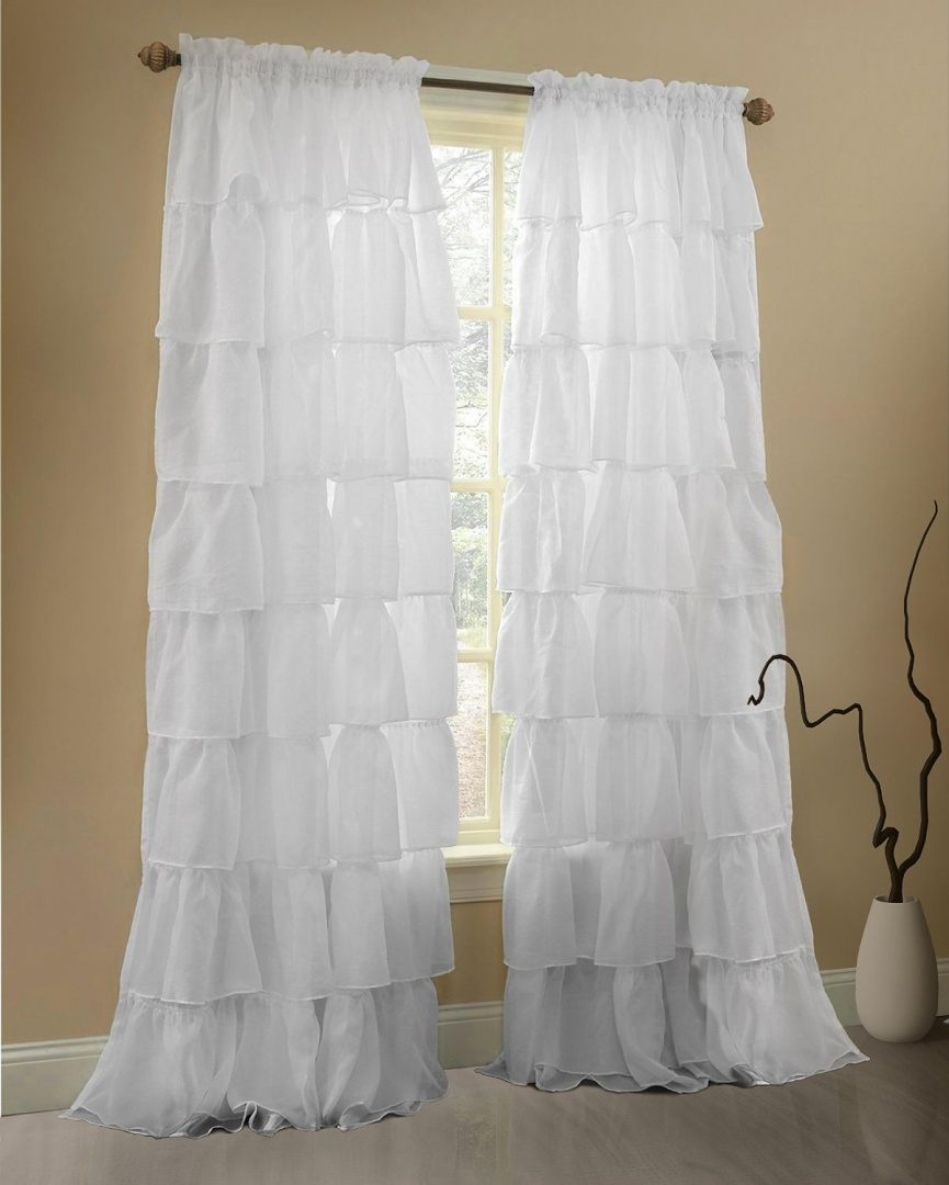 Gee Di Moda Ruffle Curtains Rod Pocket Window Curtains Panels – White – 60wx 84l (ruffled Curtains For Bedroom Curtains For Kids Room Curtains For In Lydia Ruffle Window Curtain Panel Pairs (View 20 of 20)