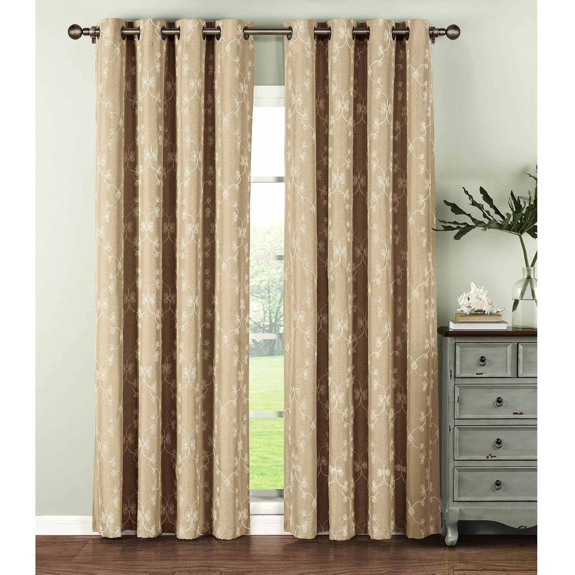 Geo Gate Embroidered Faux Linen Extra Wide Grommet Curtain Panel Pairs Intended For Curtain Panel Pairs (View 9 of 20)