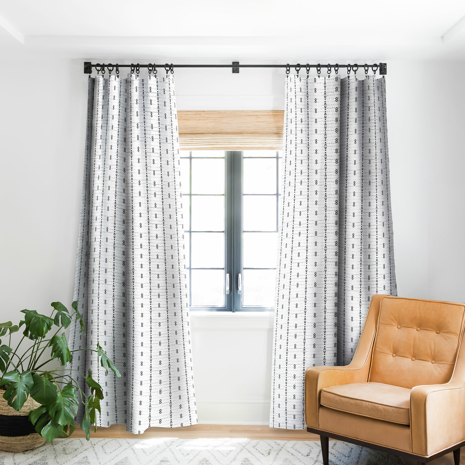 Geometric Pinch Pleat Single Curtain Panel With French Linen Lined Curtain Panels (View 15 of 20)