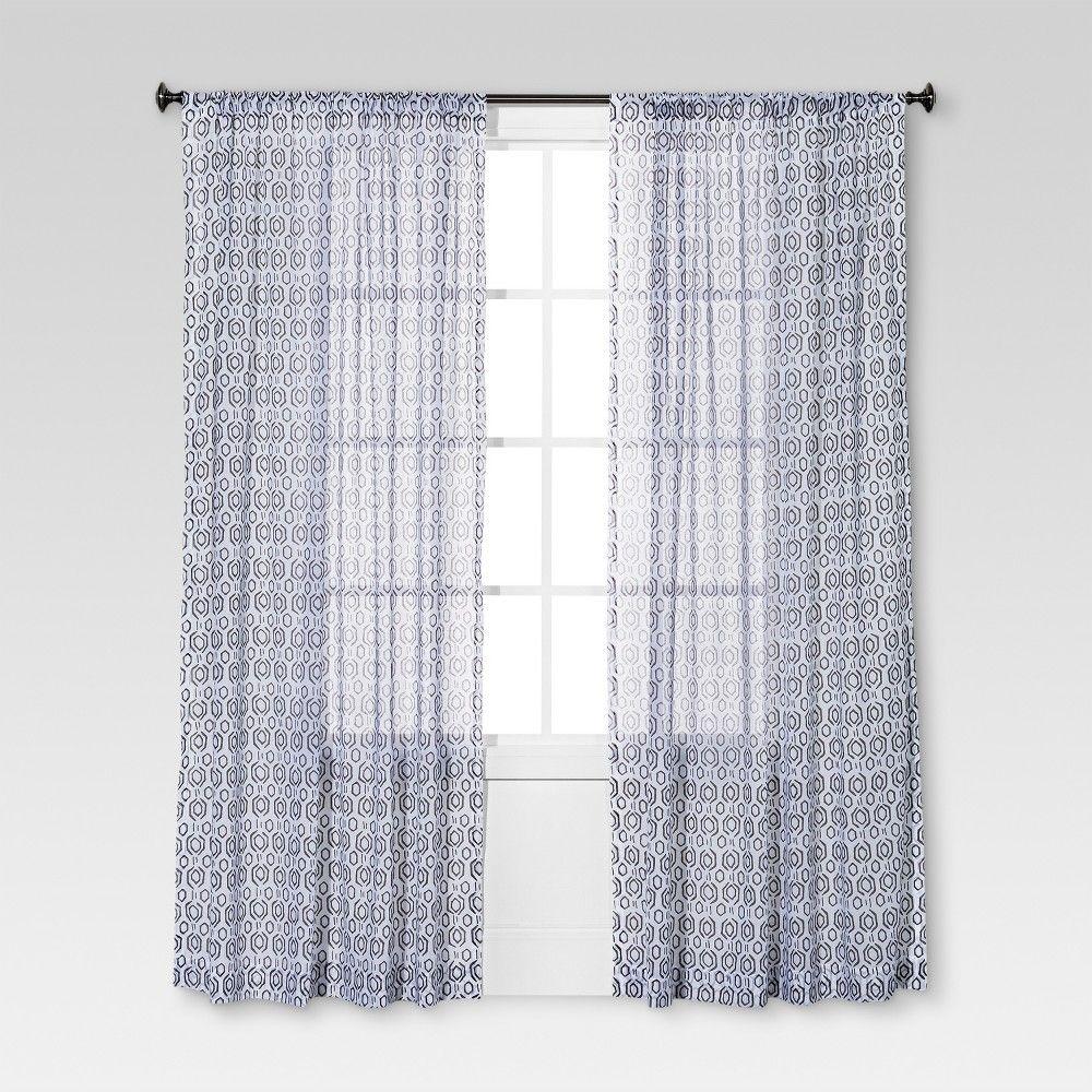 Geometric Printed Sheer Curtain Panel Aqua – Threshold Regarding Sunsmart Dahlia Paisley Printed Total Blackout Single Window Curtain Panels (View 11 of 30)