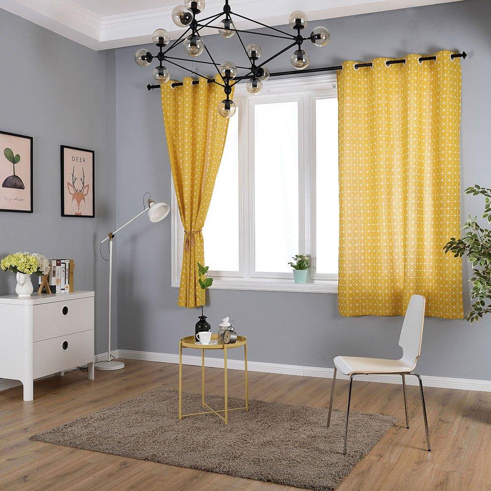 Geometric Yellow Semi Shading Linen Bedroom Window Simple Curtain Regarding Geometric Linen Room Darkening Window Curtains (View 19 of 20)