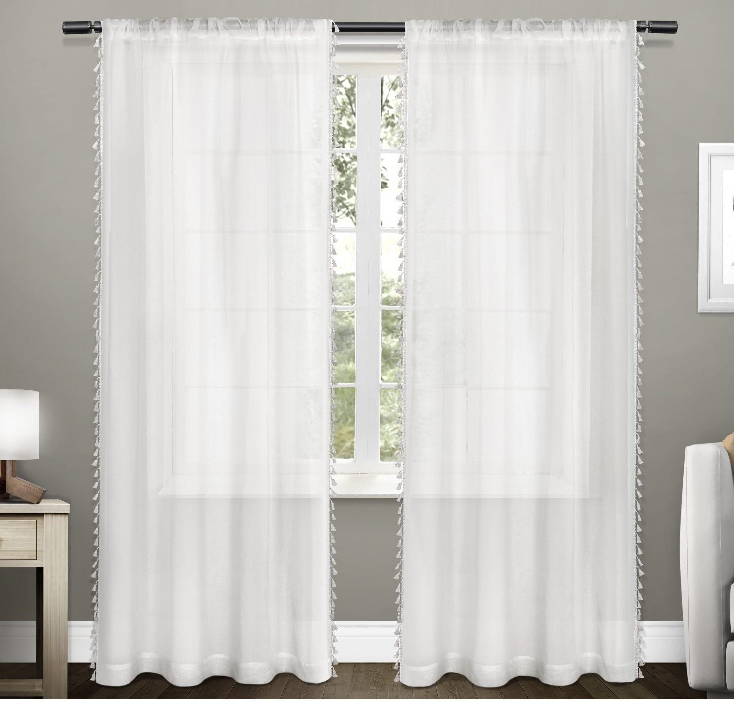 Girls Winter White Shabby Chic Window Curtain 84 Inch Pair Regarding Tassels Applique Sheer Rod Pocket Top Curtain Panel Pairs (View 8 of 30)