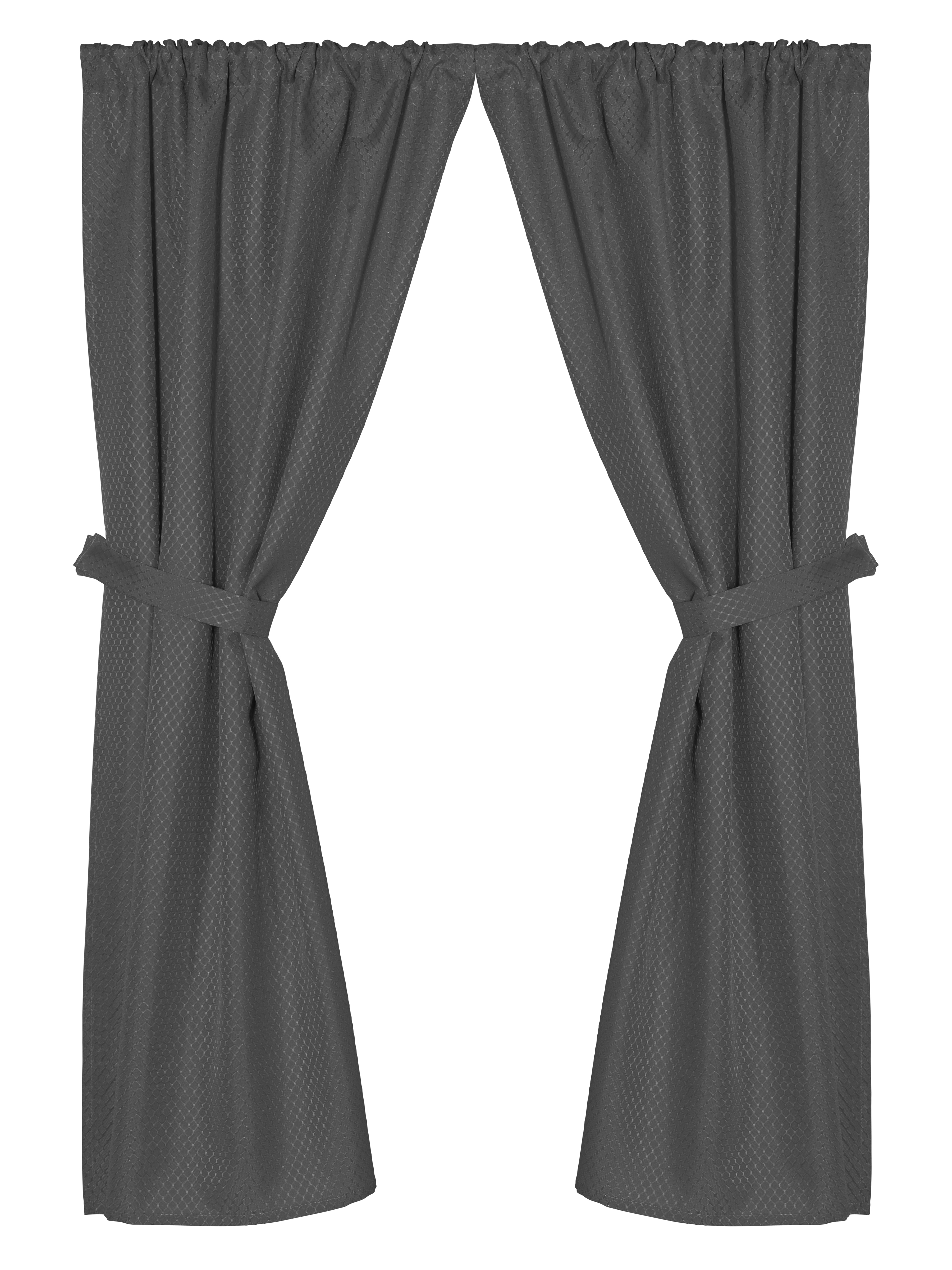 """Grace"""" Jacquard Bathroom Window Curtain In Black – Walmart For Classic Hotel Quality Water Resistant Fabric Curtains Set With Tiebacks (View 13 of 20)"""
