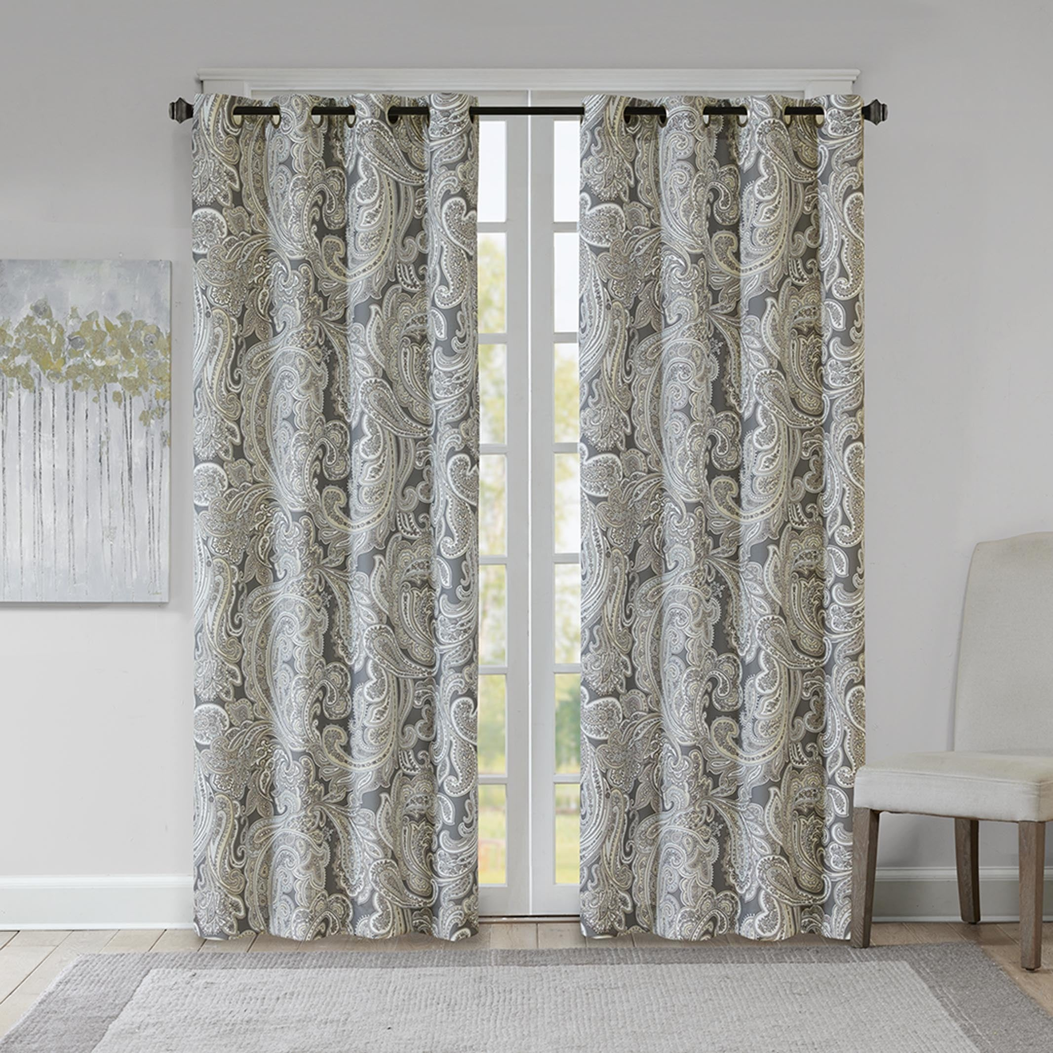 Gracewood Hollow Sutherland Grey Cotton Printed Paisley Curtain Panel Within Sunsmart Dahlia Paisley Printed Total Blackout Single Window Curtain Panels (View 8 of 30)