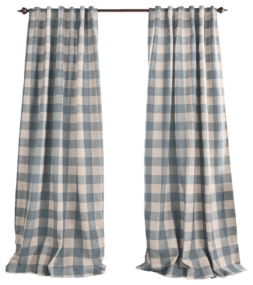 "Grainger Buffalo Check Blackout Window Curtain, Chambray, 52""x84"" Pertaining To Grainger Buffalo Check Blackout Window Curtains (View 3 of 20)"